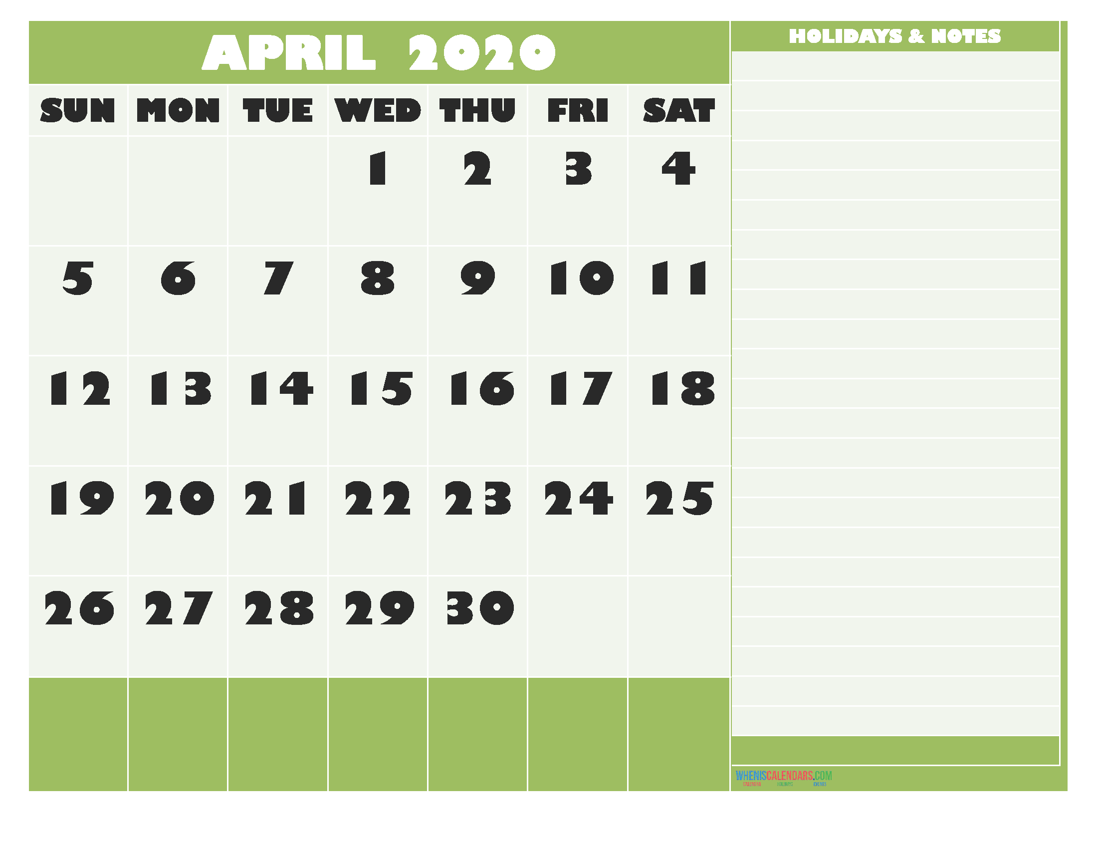 April 2020 Calendar with Holidays Free Printable