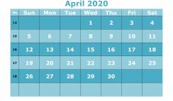 Free Printable April 2020 Calendar Templates