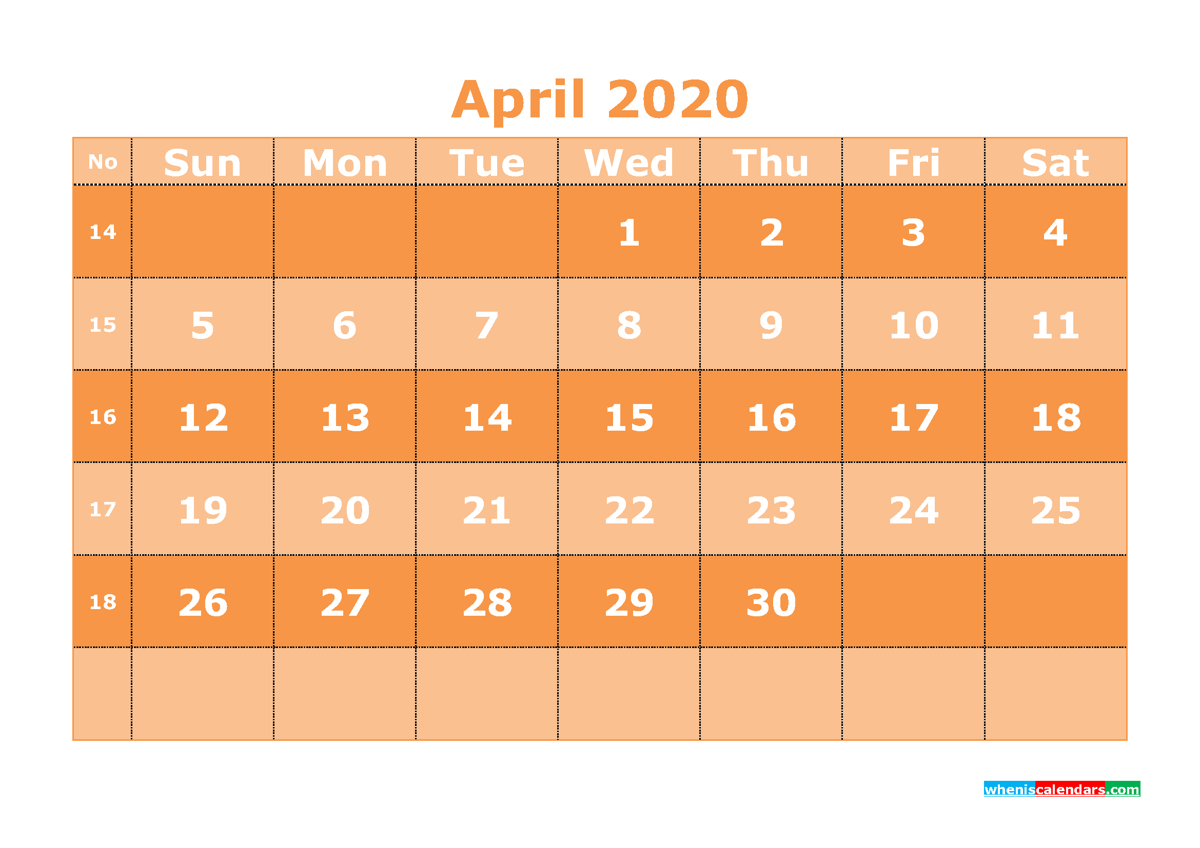 Free Printable April 2020 Calendar Template Word