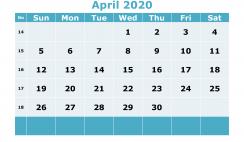 Free Printable April 2020 Calendar Template Word