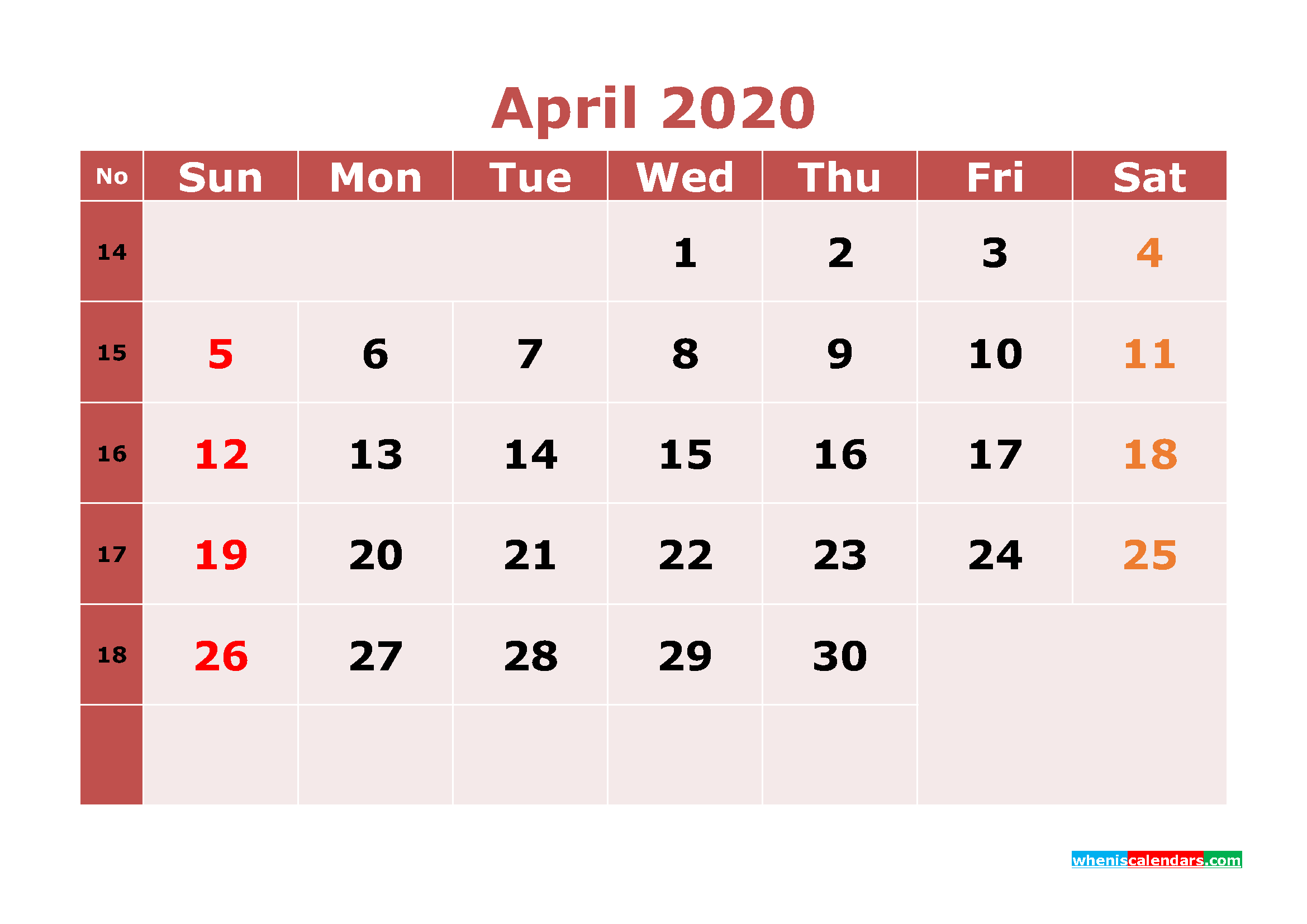 Free Printable April 2020 Calendar Word, PDF