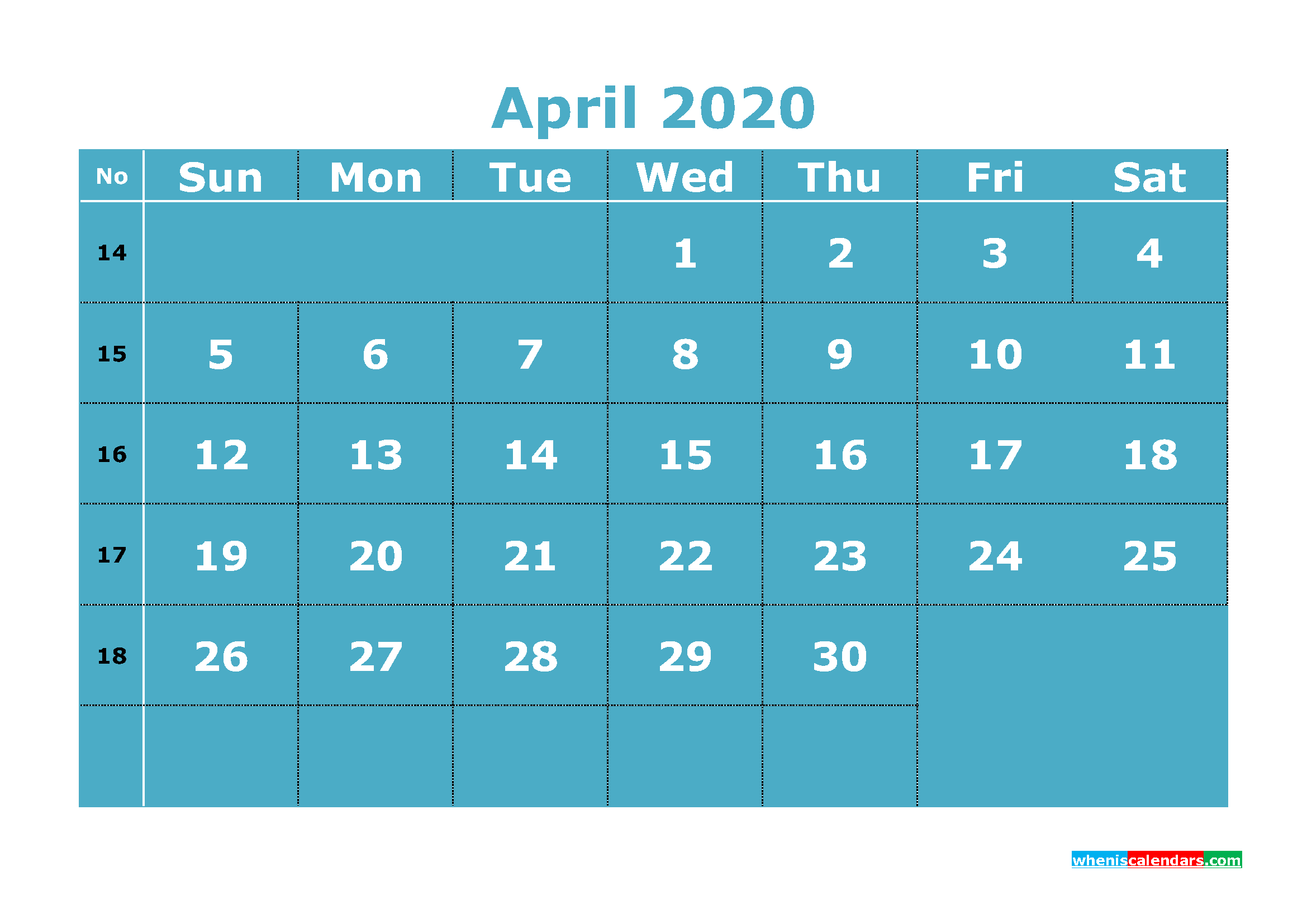 Printable April 2020 Calendar Template Word, PDF