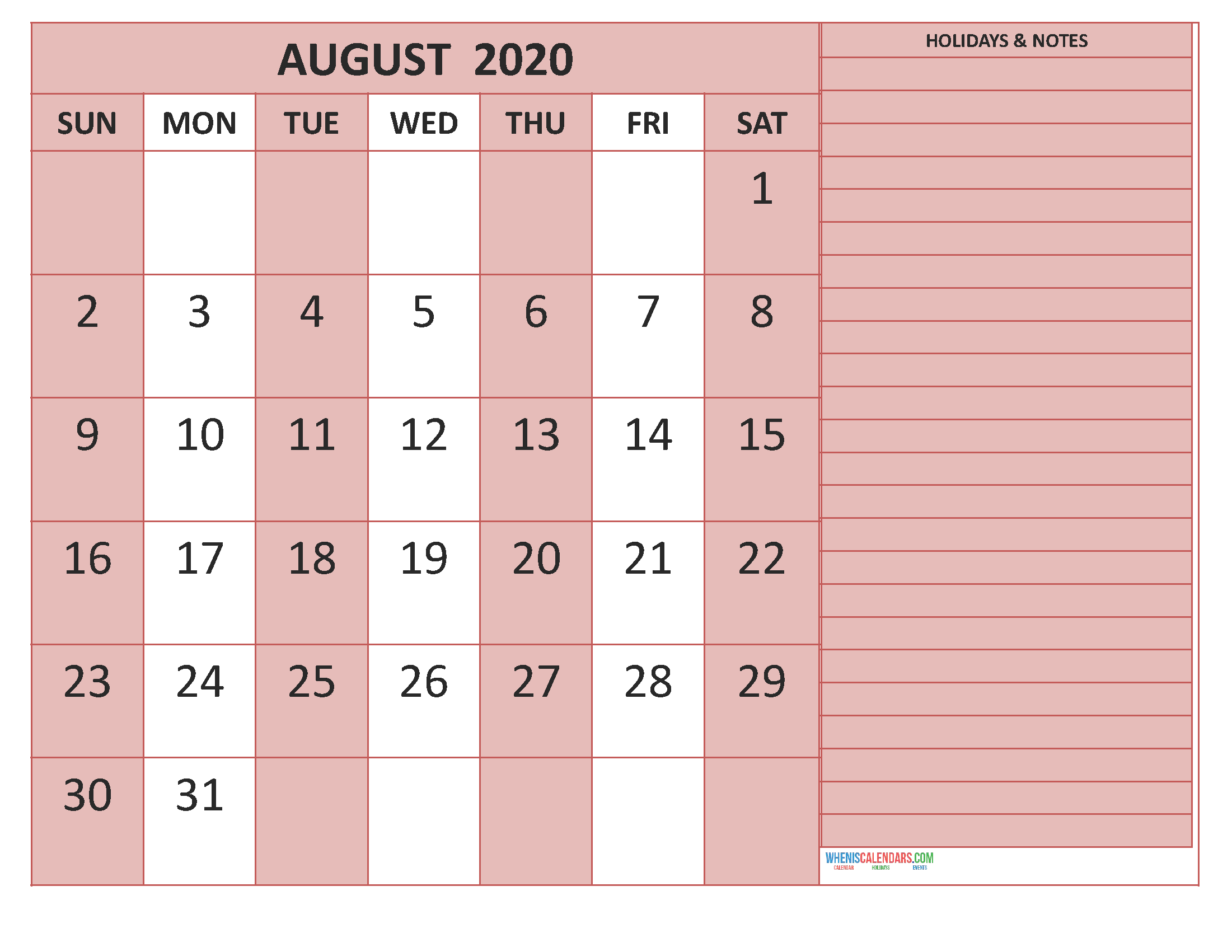 Printable August 2020 Calendar with Holidays Word