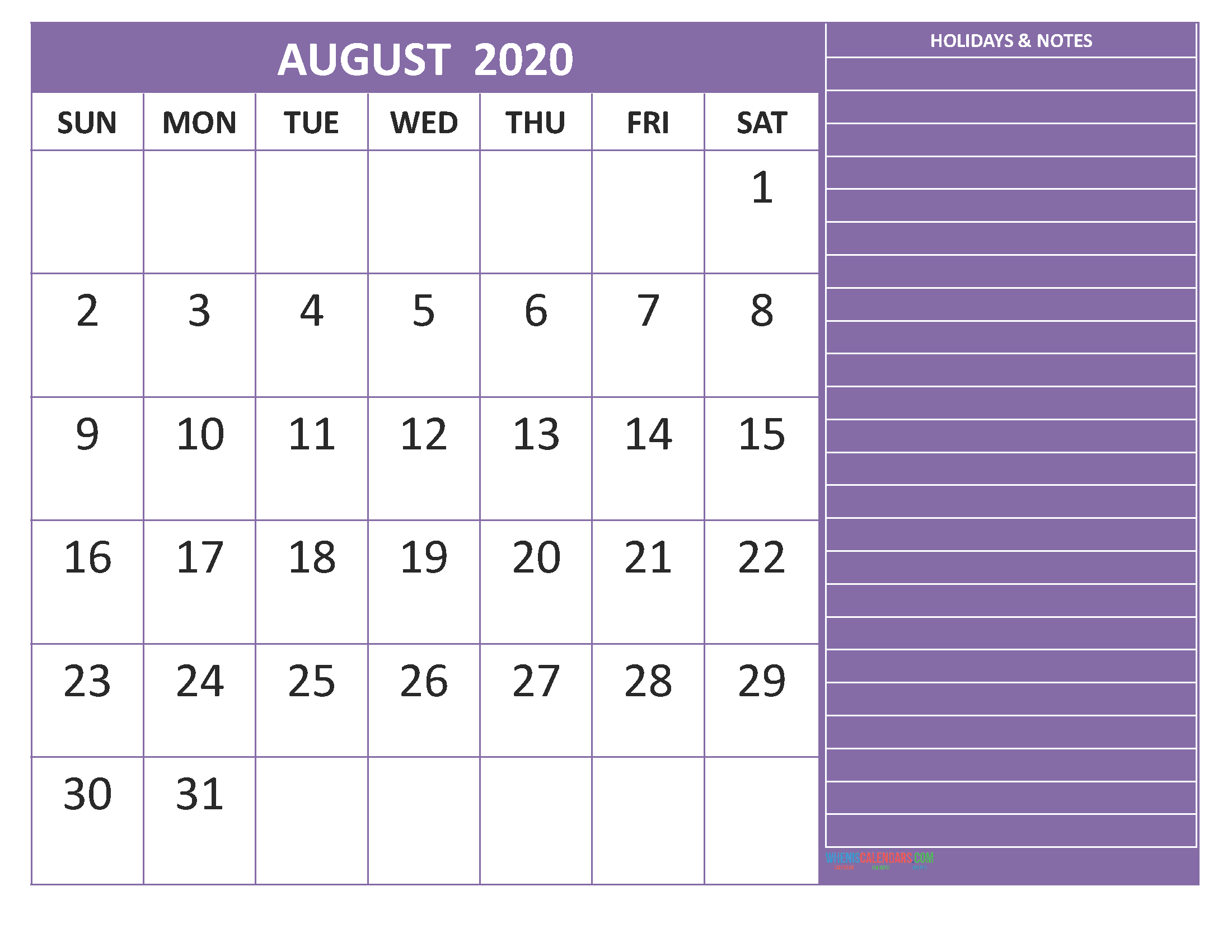 August 2020 Calendar with Holidays Free Printable by Word