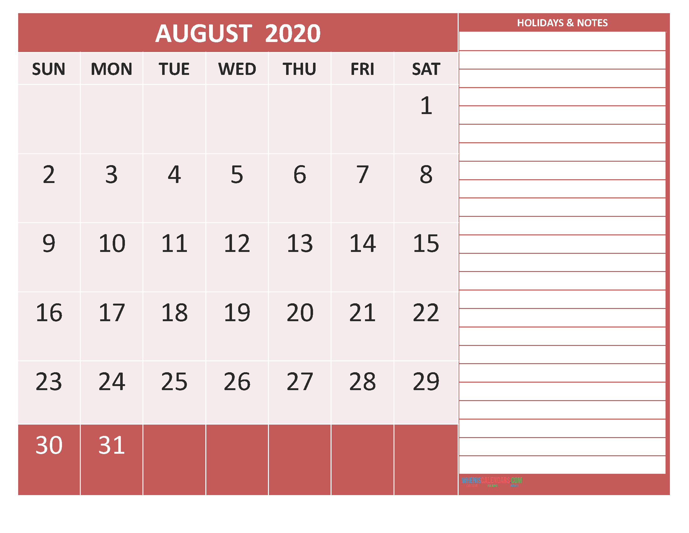 Free Printable Monthly Calendar 2020 August with Holidays