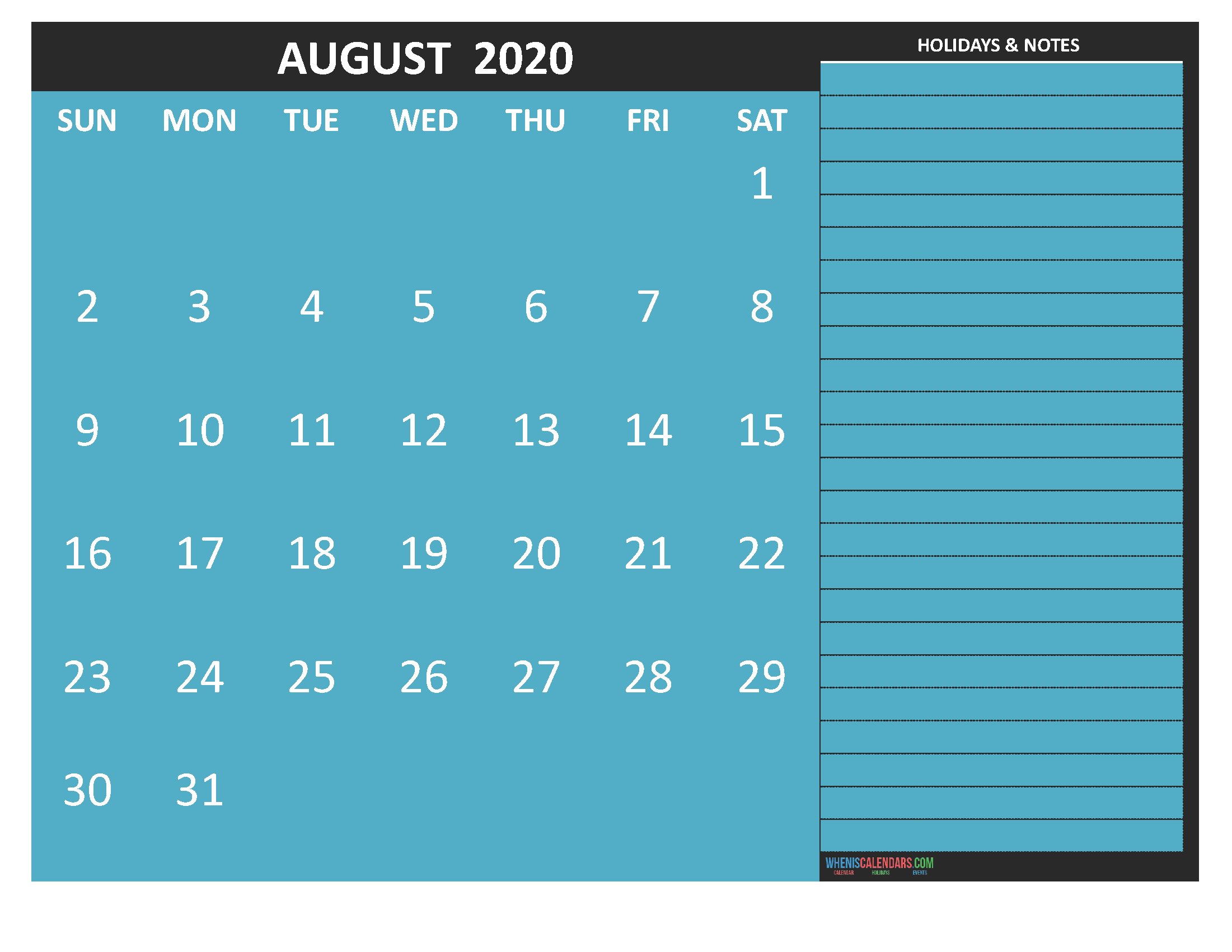 Free Printable 2020 Monthly Calendar with Holidays August