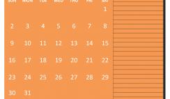 Printable August 2020 Calendar with Holidays Word