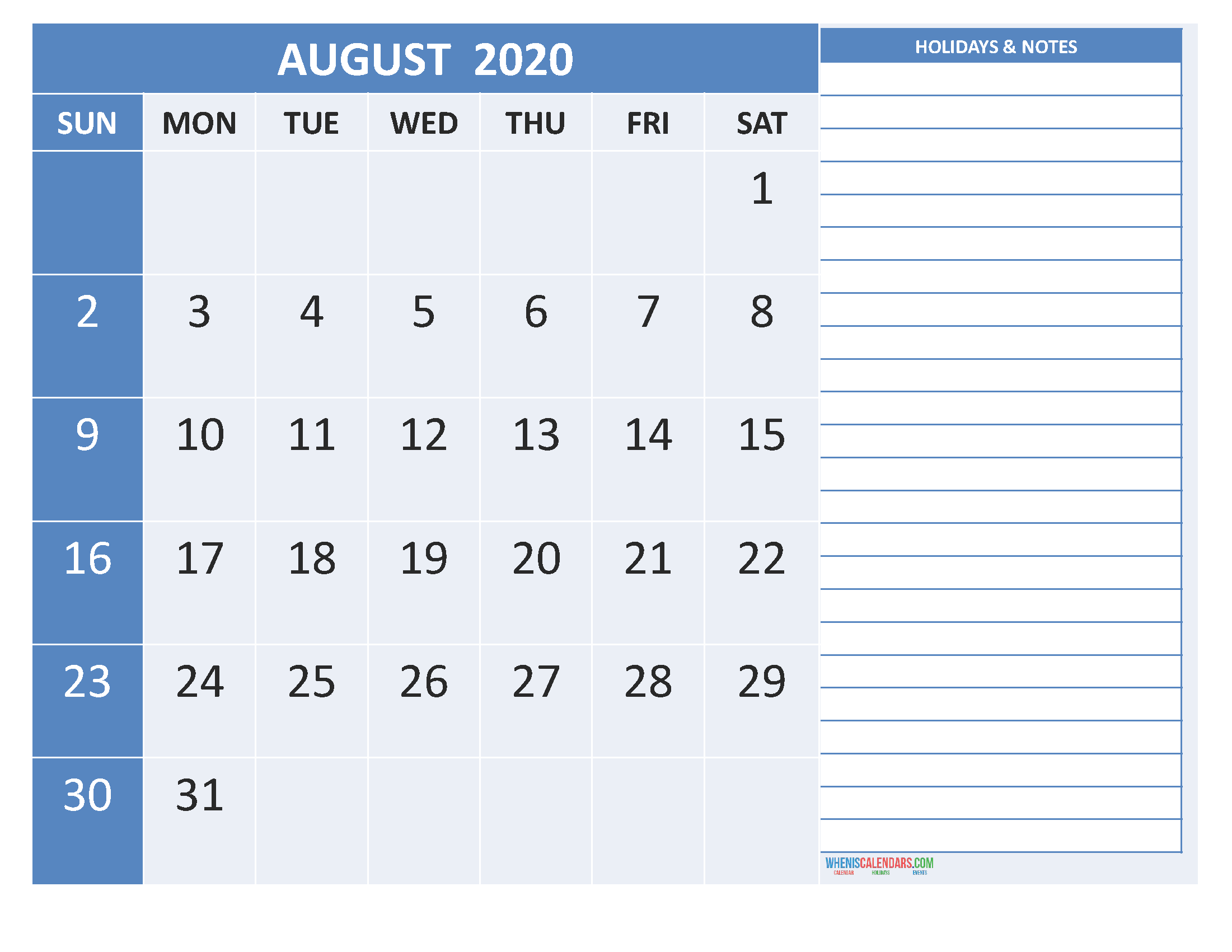 Free Printable Monthly 2020 Calendar with Holidays August