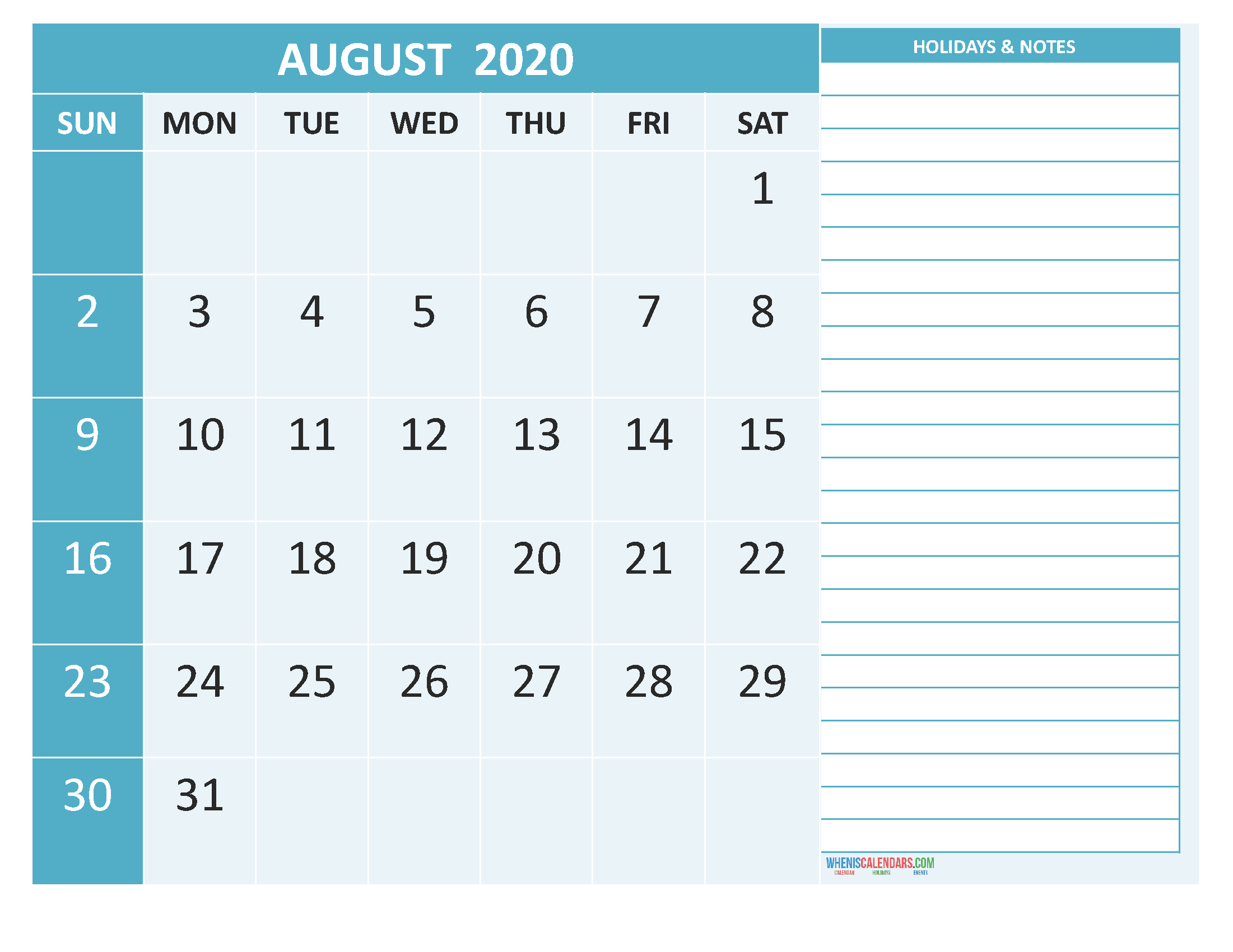 Free August 2020 Monthly Calendar Template Word