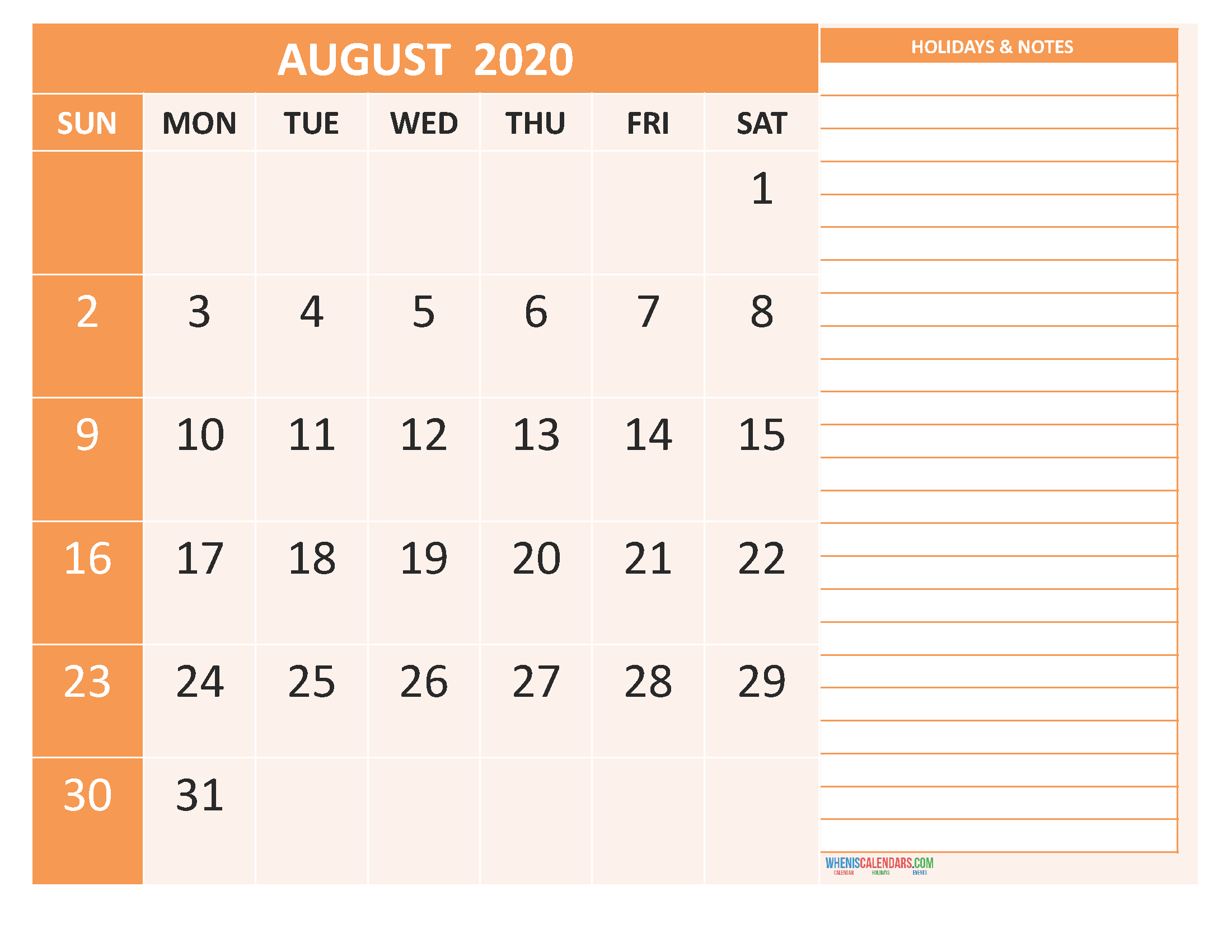 August 2020 Calendar with Holidays Word, PDF