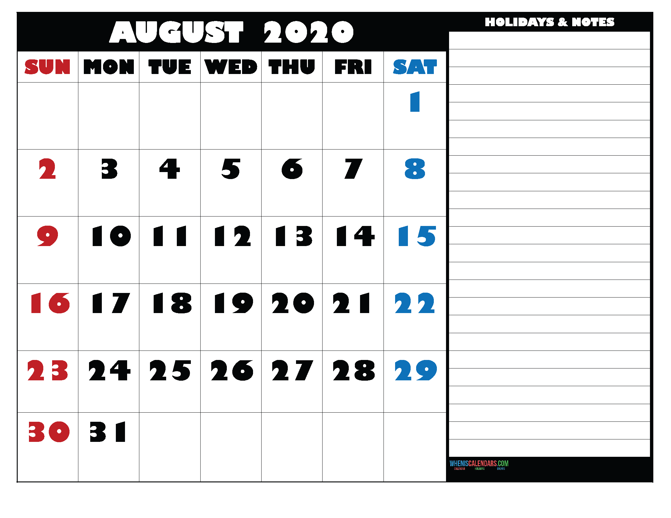 Free Monthly Printable Calendar 2020 August with Holidays