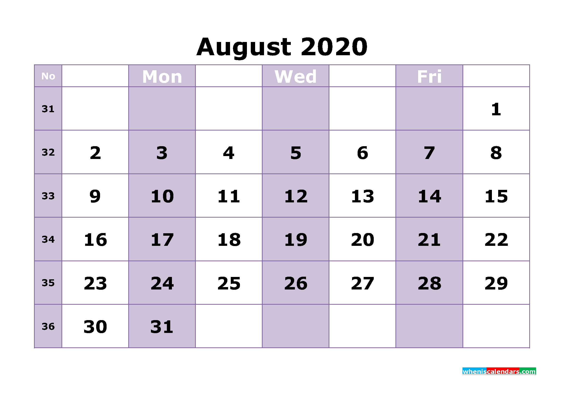 Free Printable August 2020 Calendar Template Word