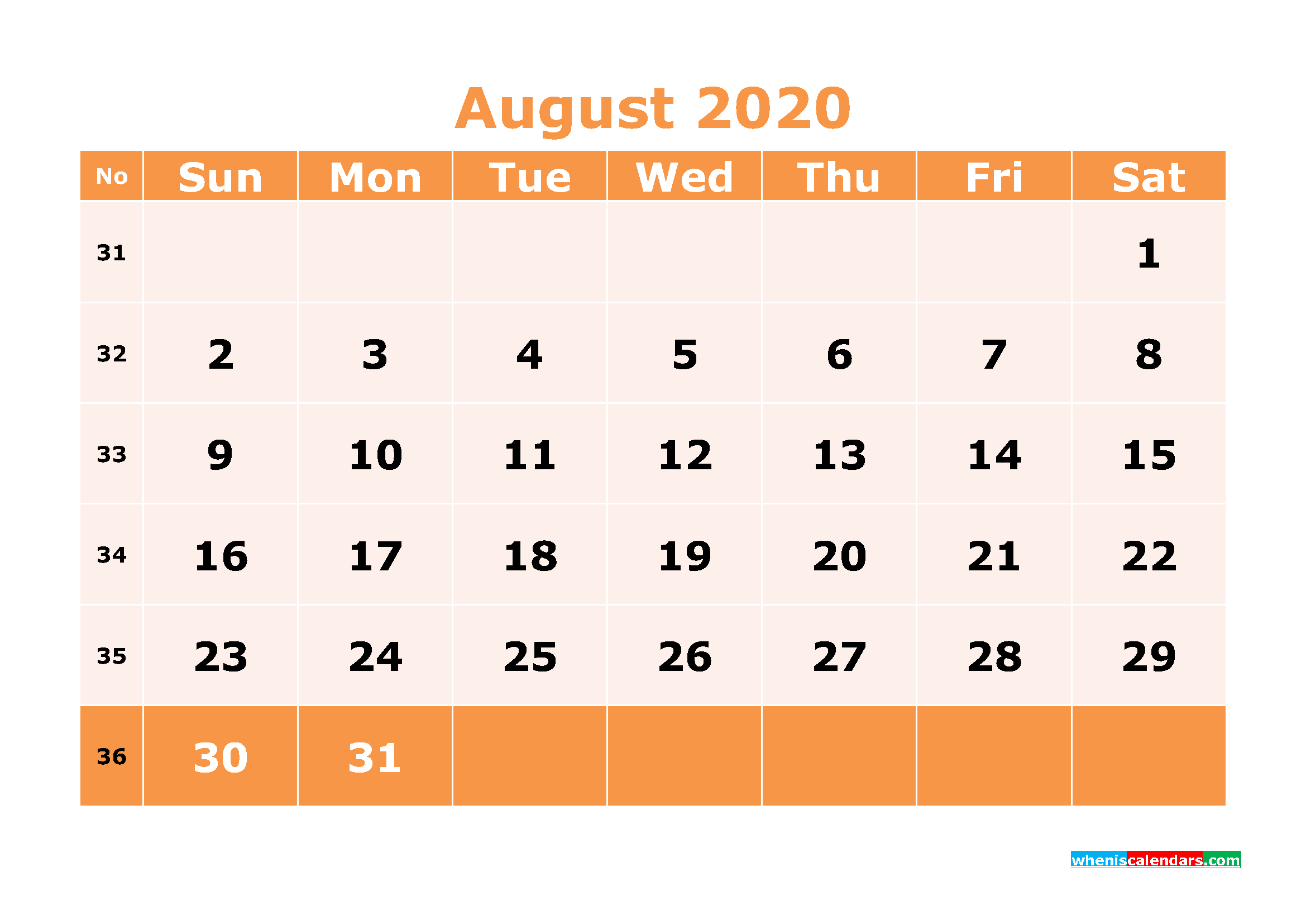 Printable August 2020 Calendar Template Word, PDF