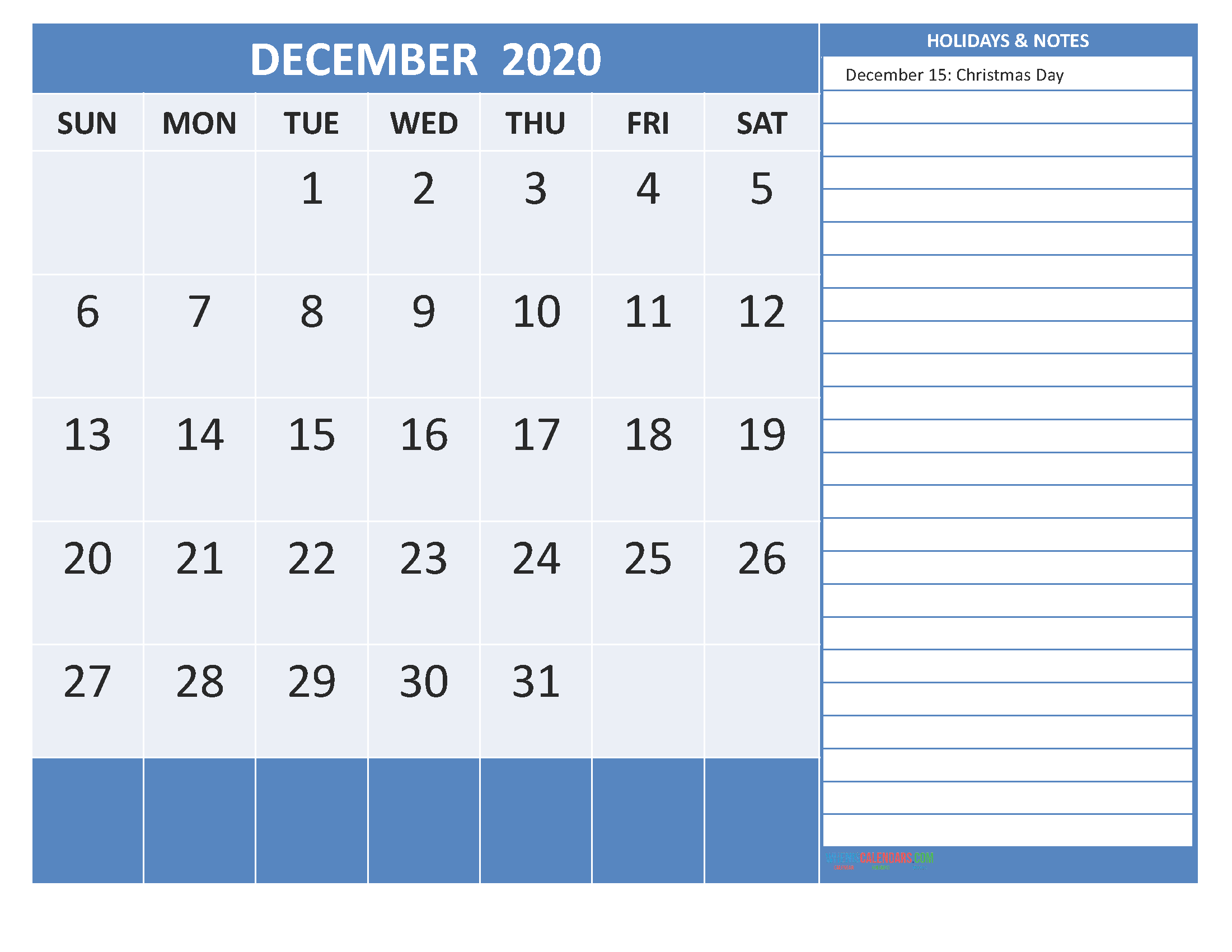 Free Printable 2020 Monthly Calendar with Holidays December