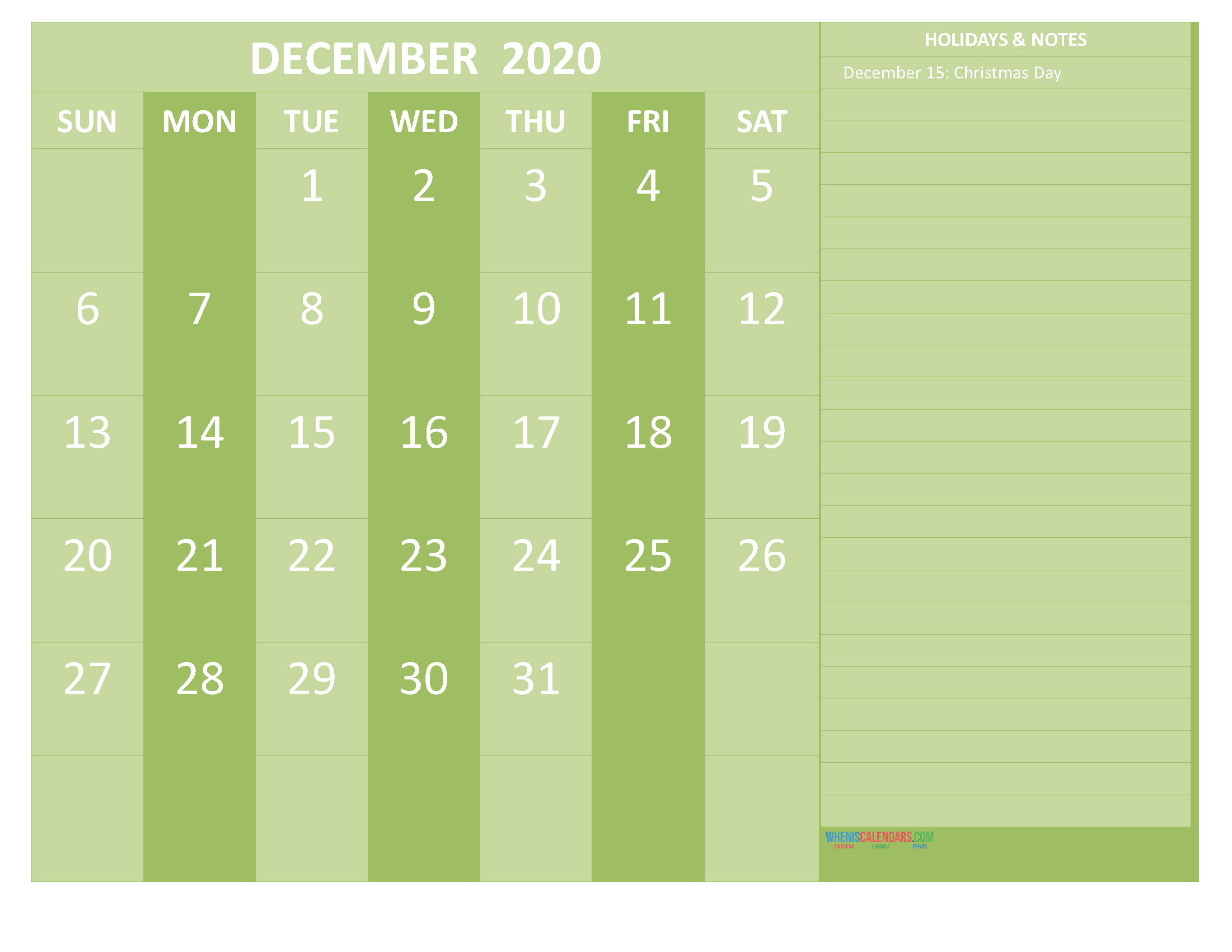 Free December 2020 Monthly Calendar Template Word