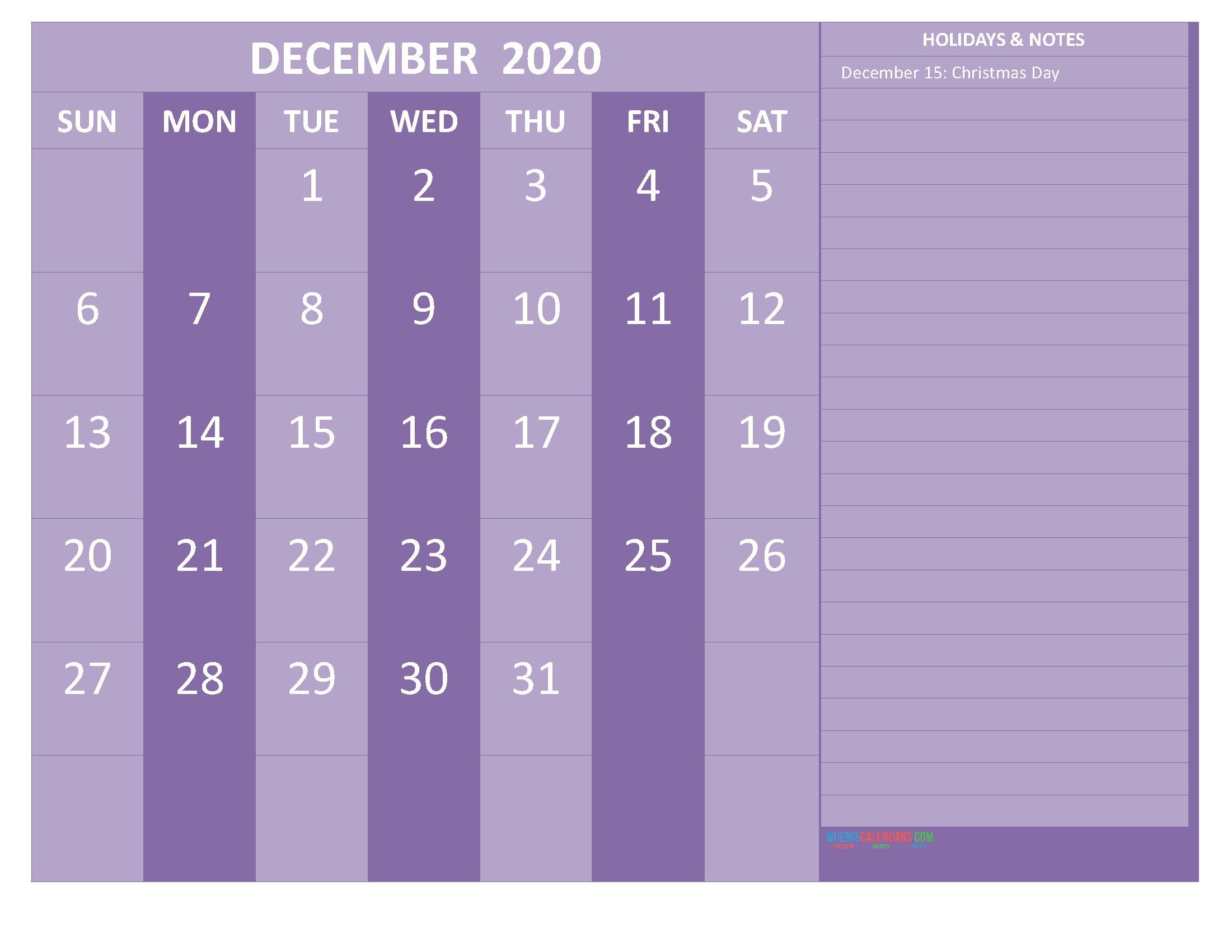 Printable December 2020 Calendar with Holidays Word