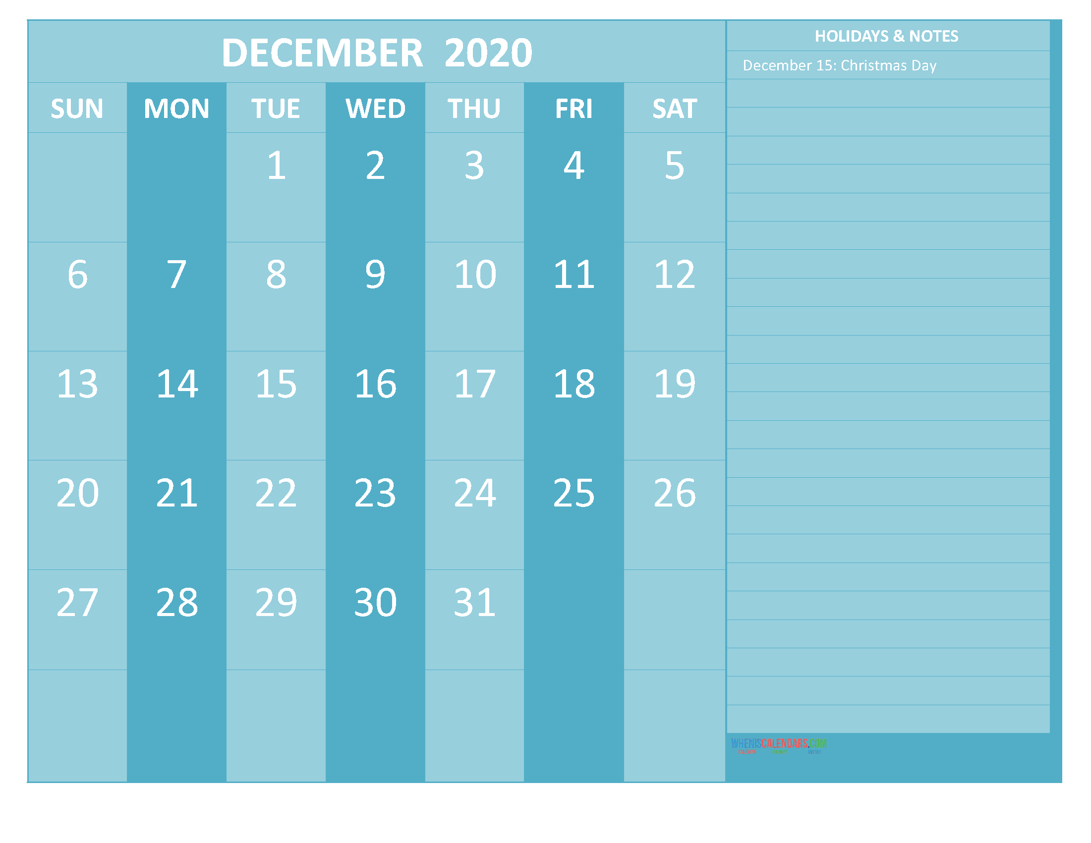 December 2020 Calendar with Holidays Free Printable
