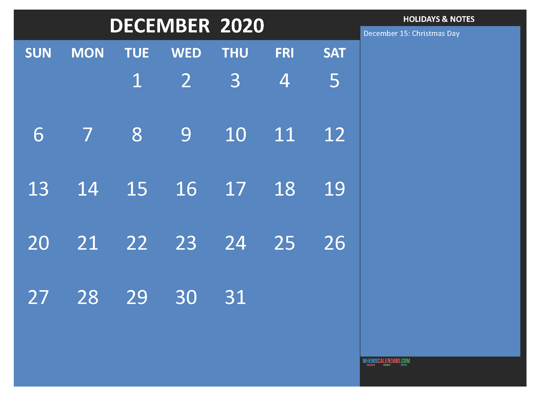 Free Printable Monthly Calendar 2020 December with Holidays