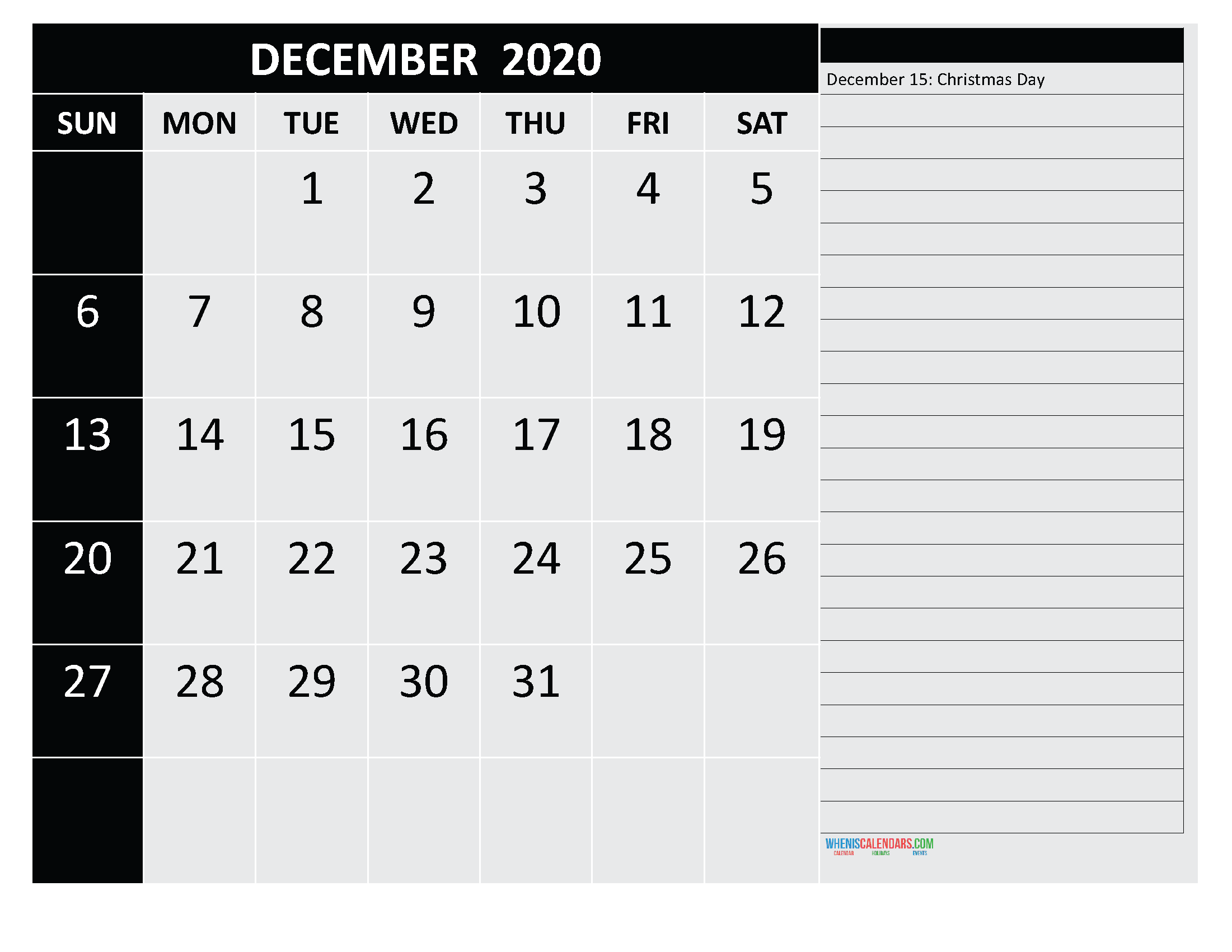 Free Printable December 2020 Calendar with Holidays