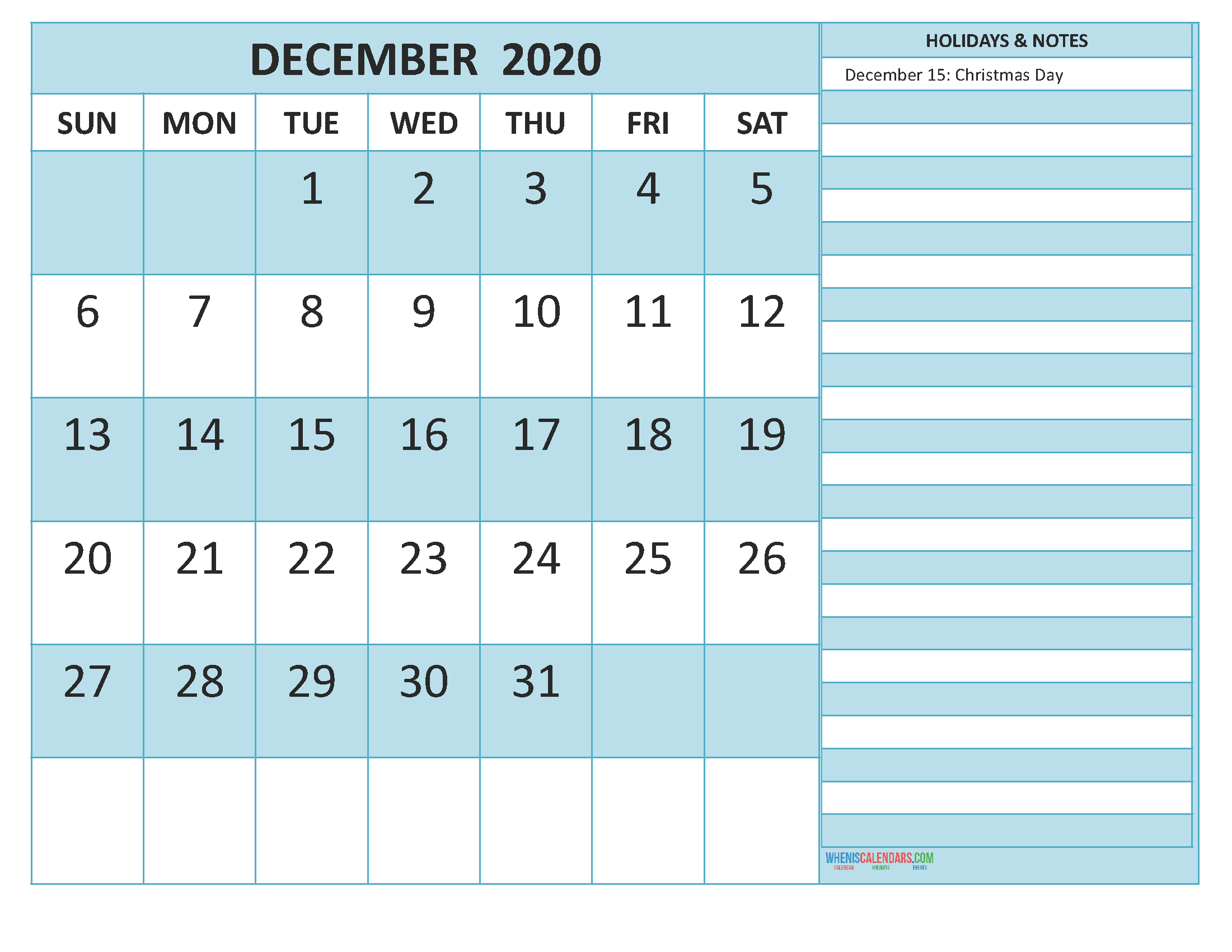 December 2020 Calendar with Holidays Word, PDF
