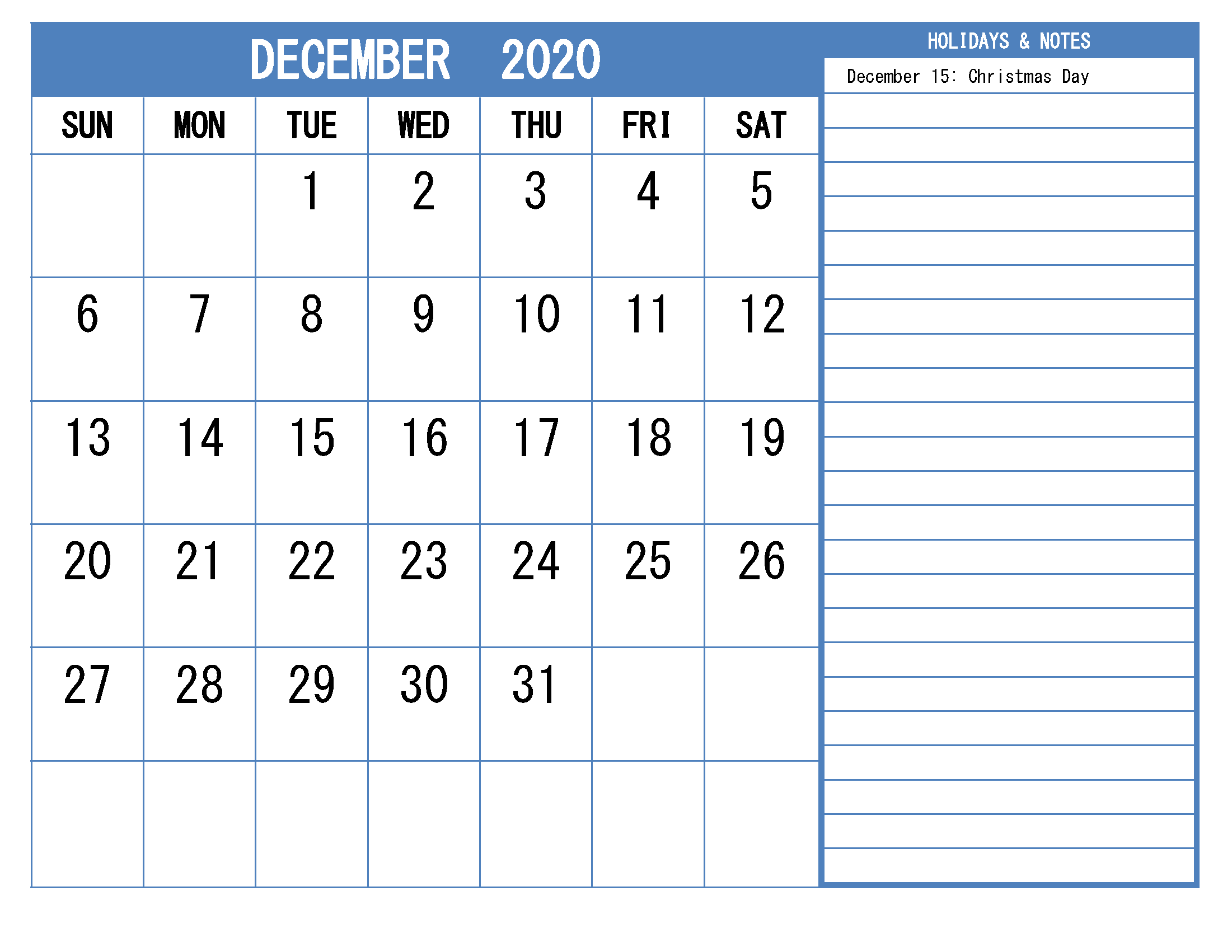 Free Printable Monthly 2020 Calendar with Holidays December