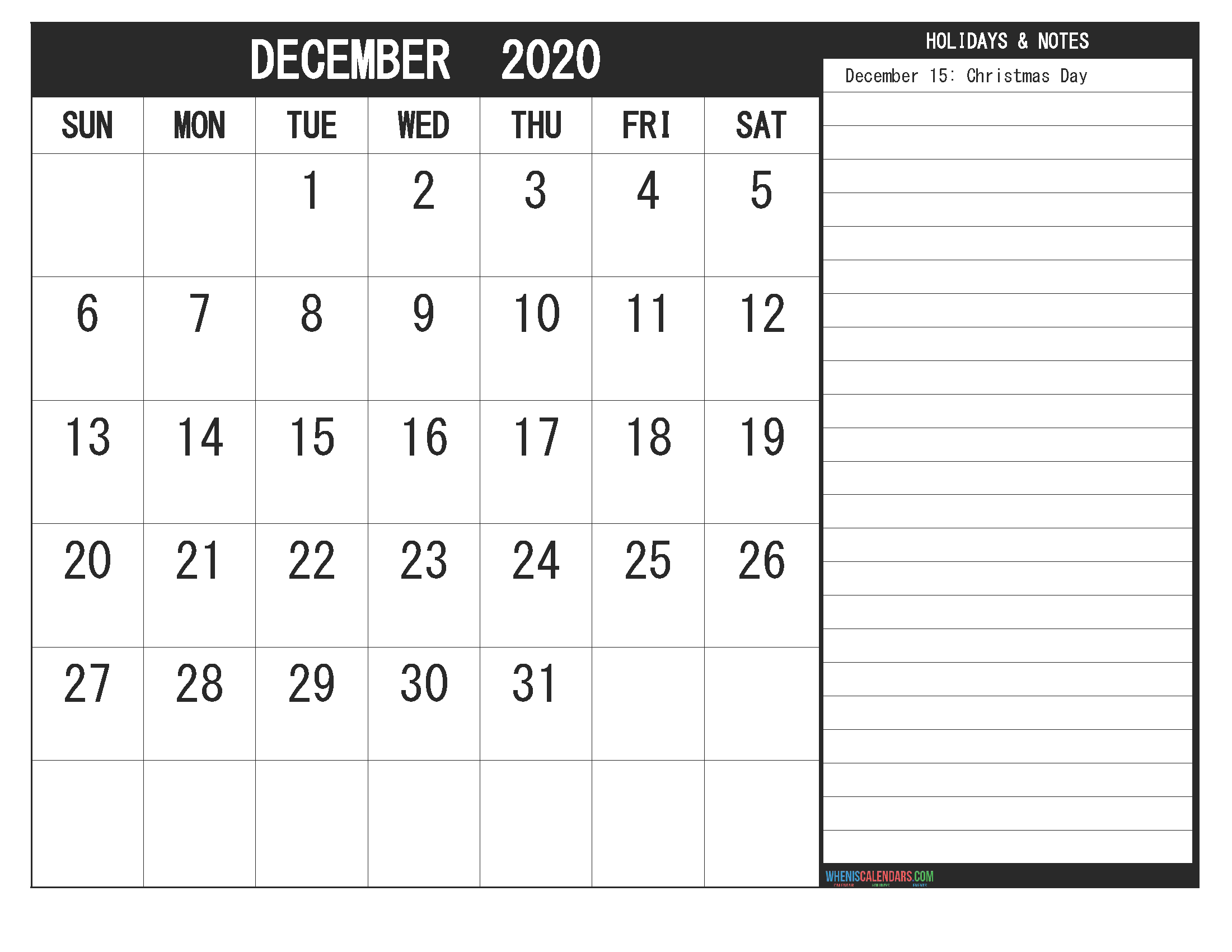 December 2020 Calendar with Holidays Free Printable – Free ...