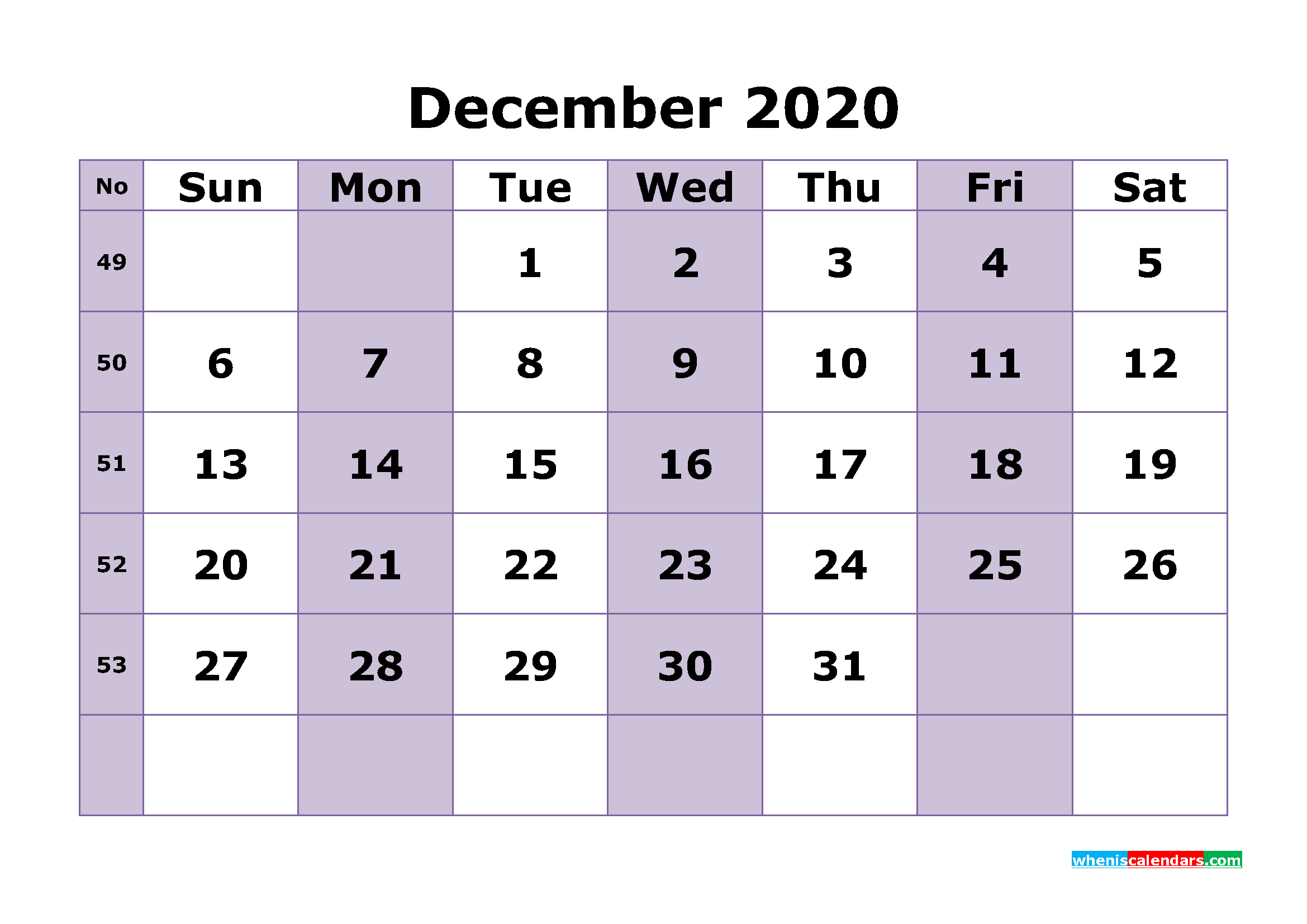 Printable December 2020 Calendar Template Word, PDF