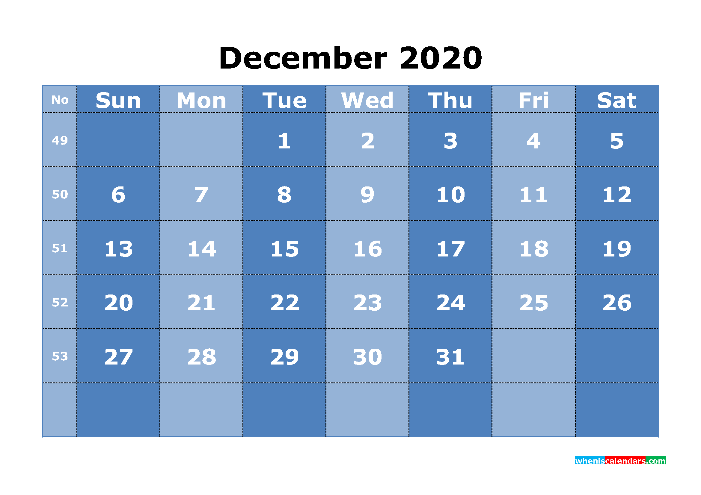 Printable December 2020 Calendar with Week Numbers