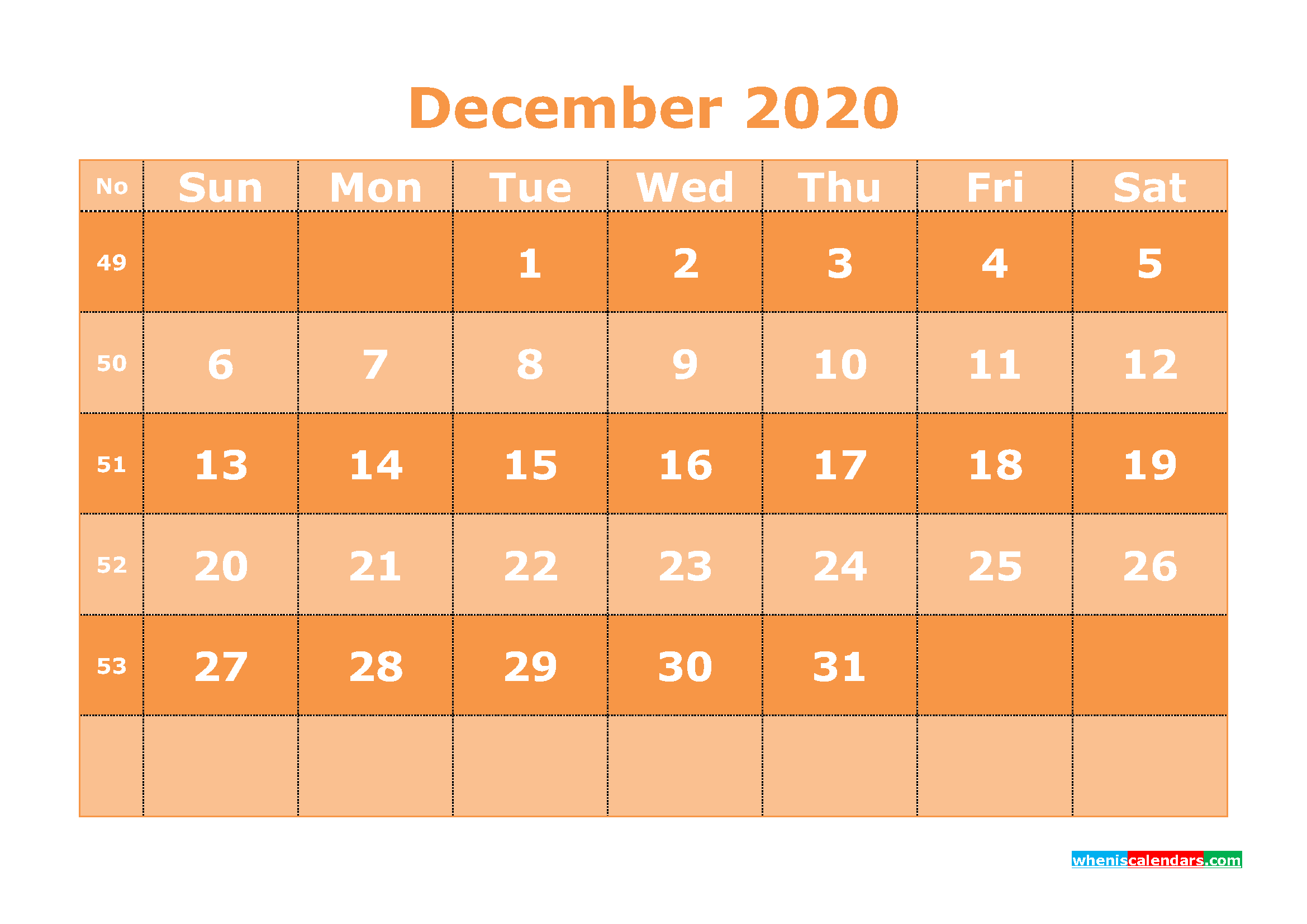 Free Printable December 2020 Calendar Template Word