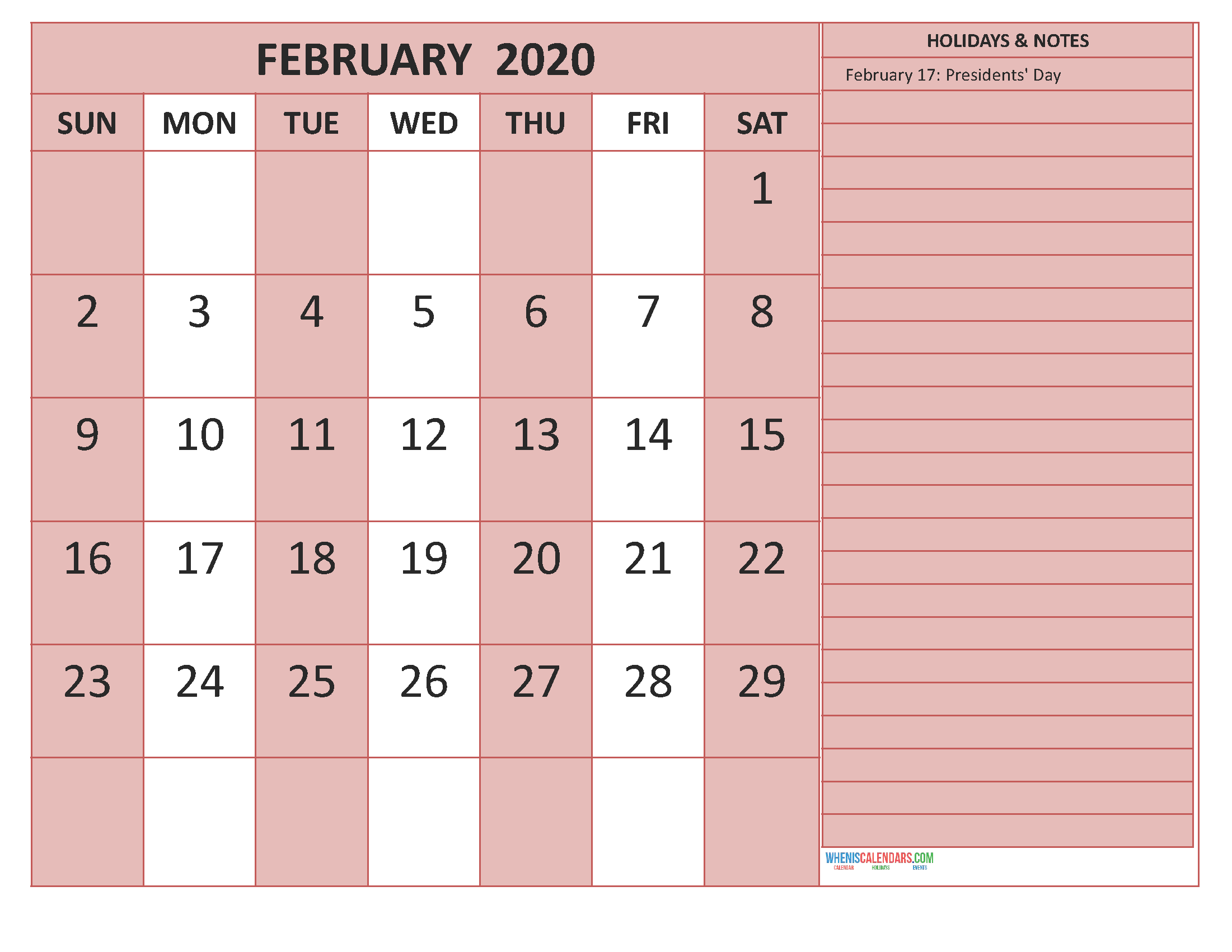 Free February 2020 Monthly Calendar Template Word