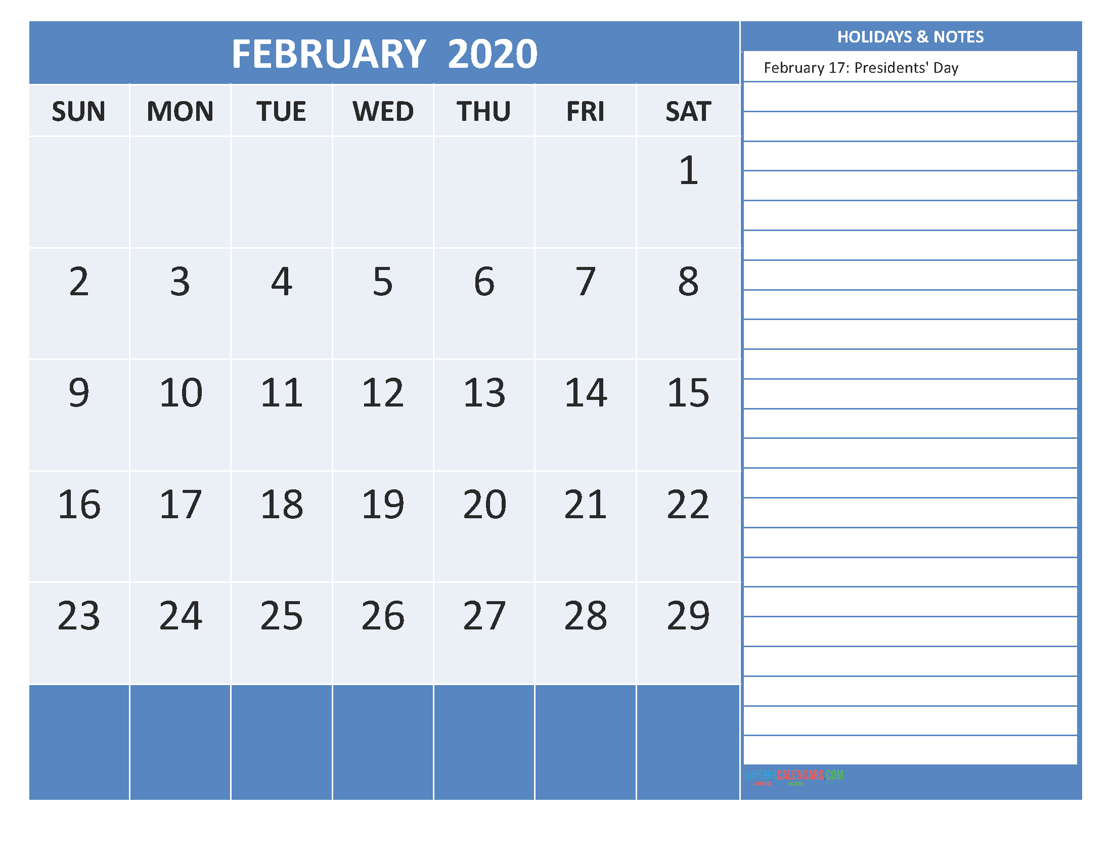 Free Printable 2020 Monthly Calendar with Holidays February