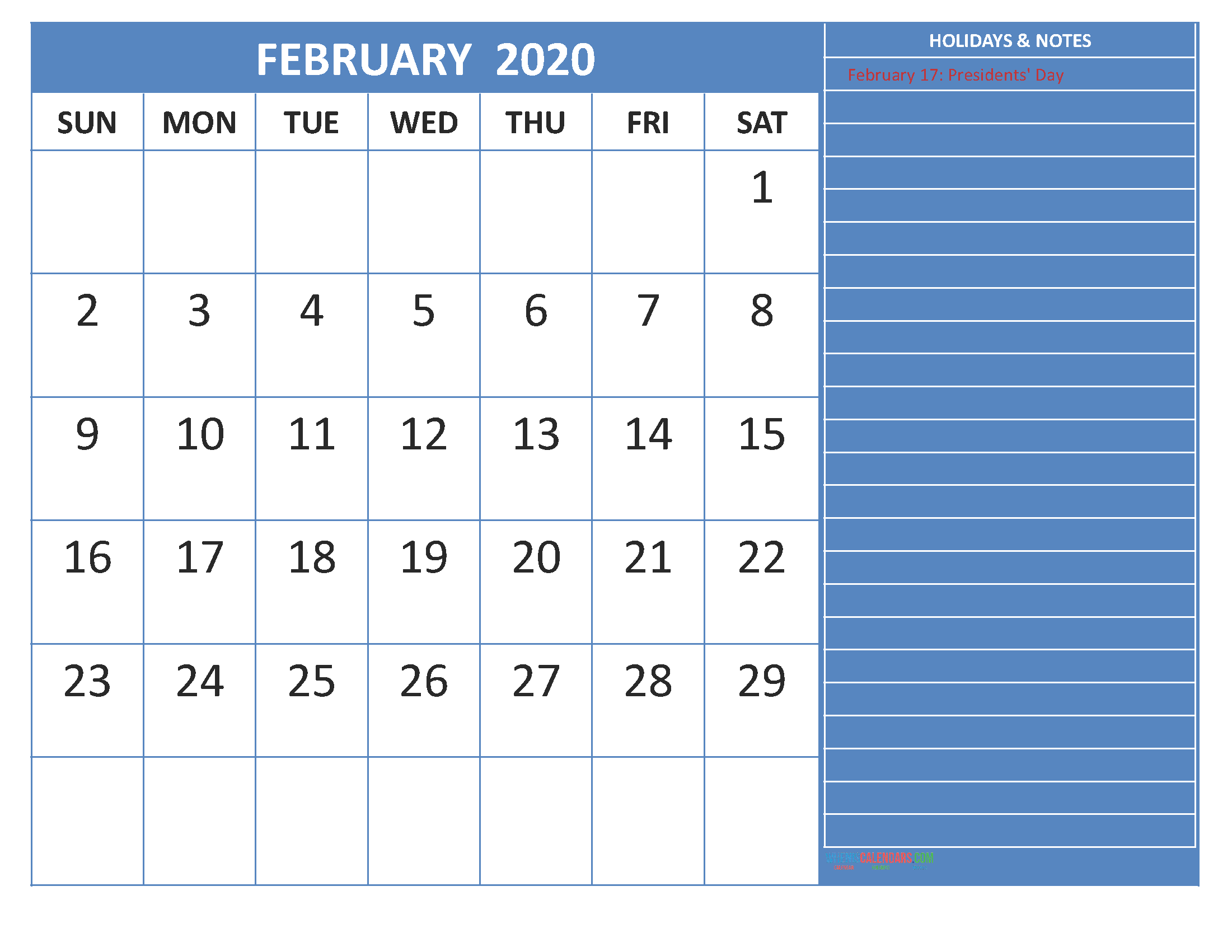 February 2020 Calendar with Holidays Word, PDF