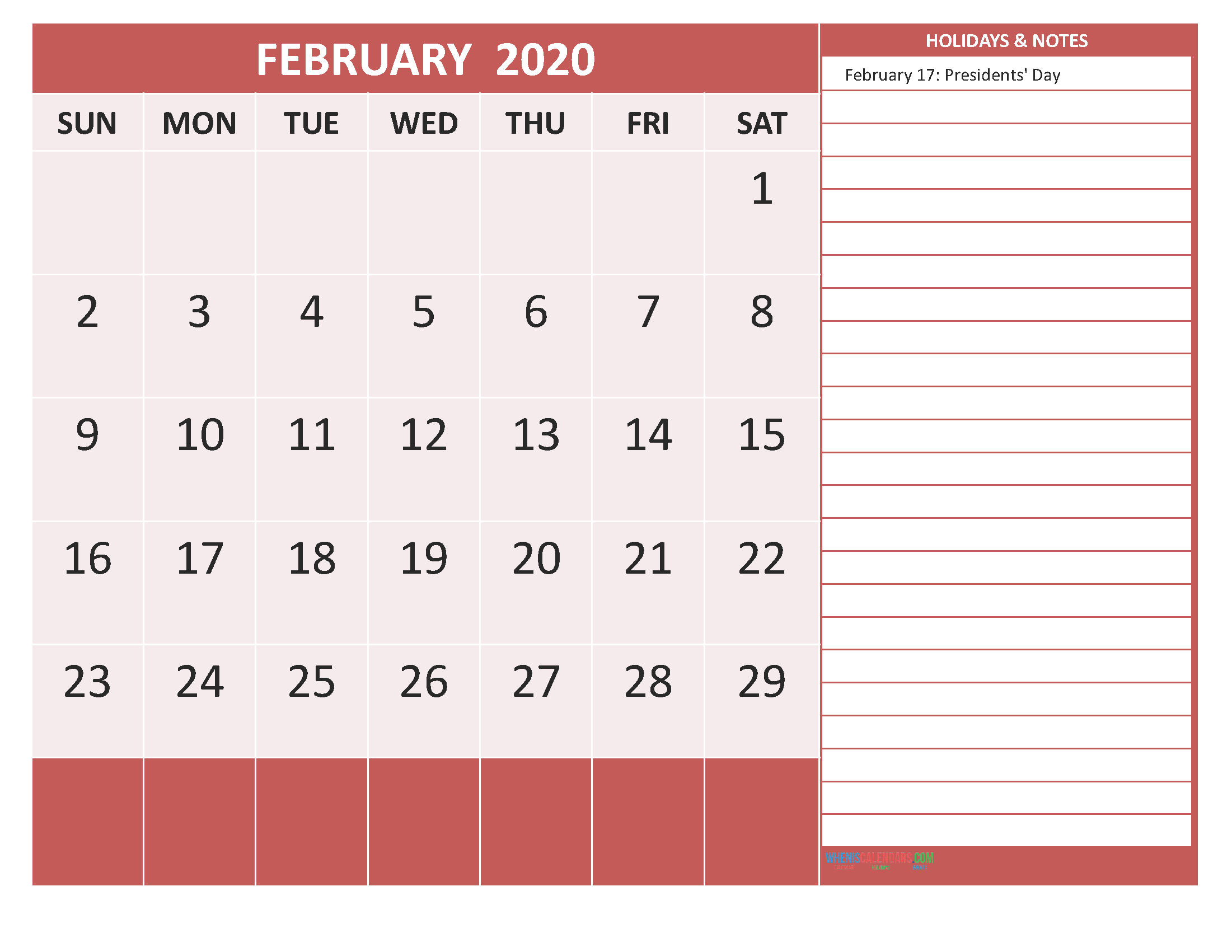 Free Printable Monthly Calendar 2020 February with Holidays