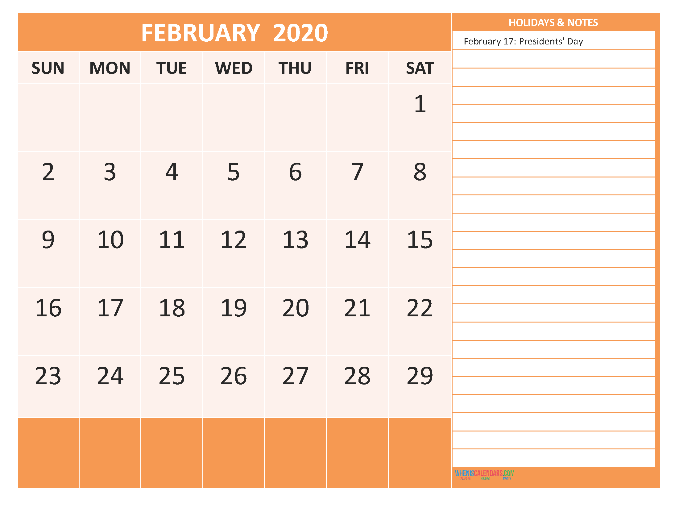 February 2020 Calendar with Holidays Free Printable