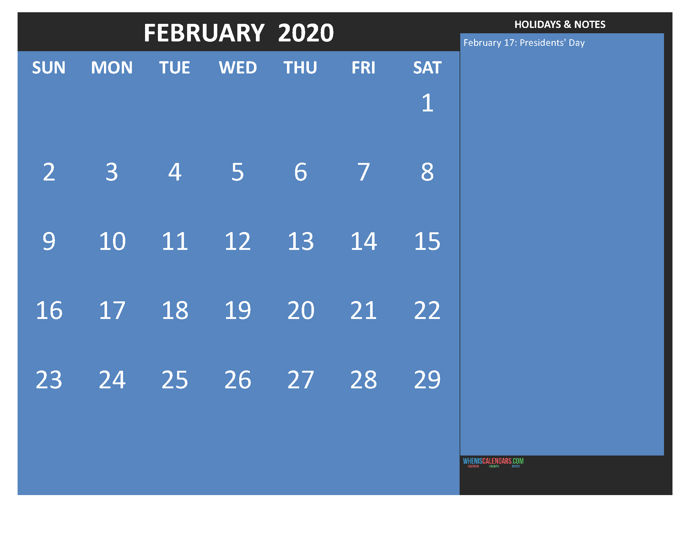 Printable February 2020 Calendar with Holidays Word