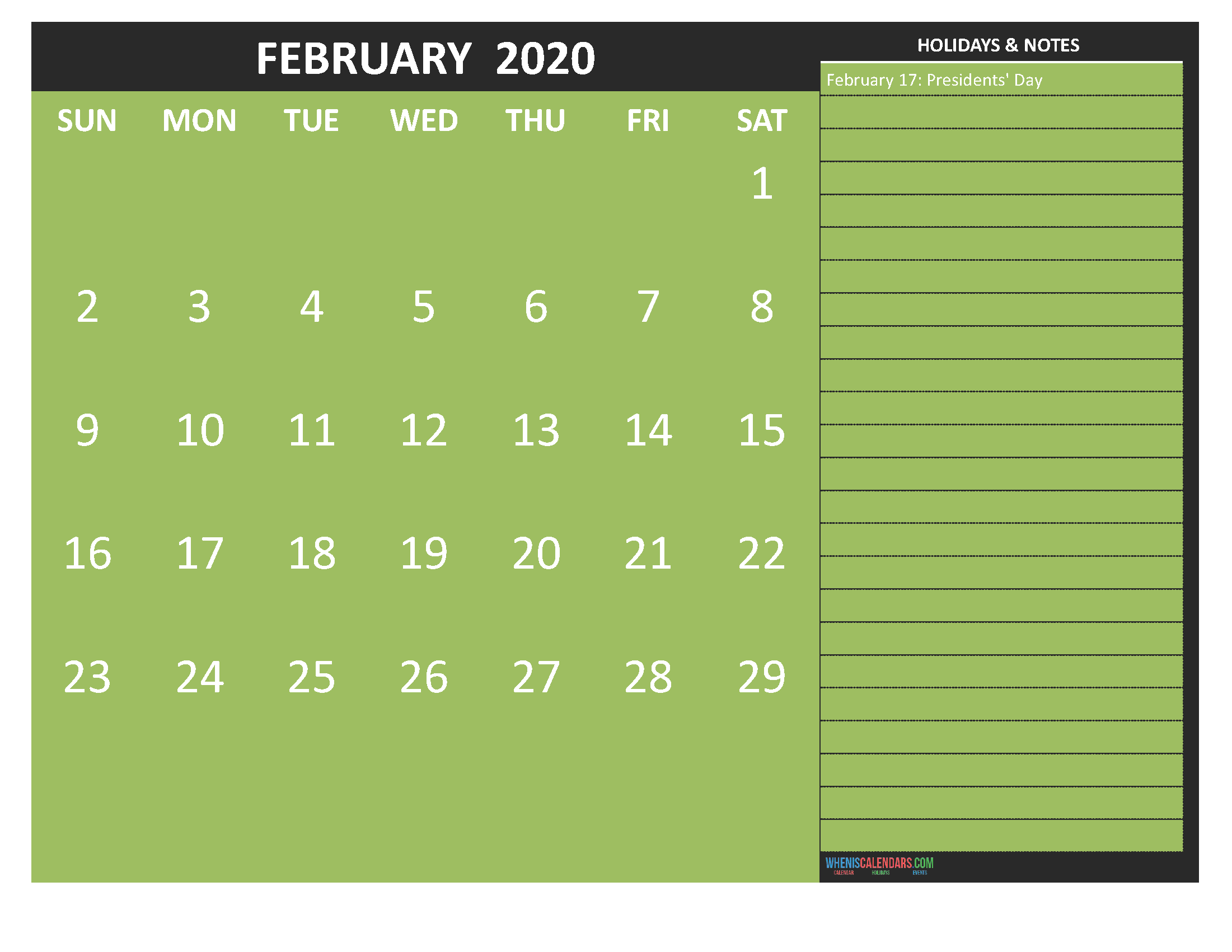 February 2020 Calendar with Holidays Free Printable by Word
