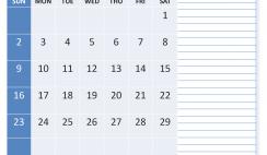 February 2020 Calendar with Holidays Word