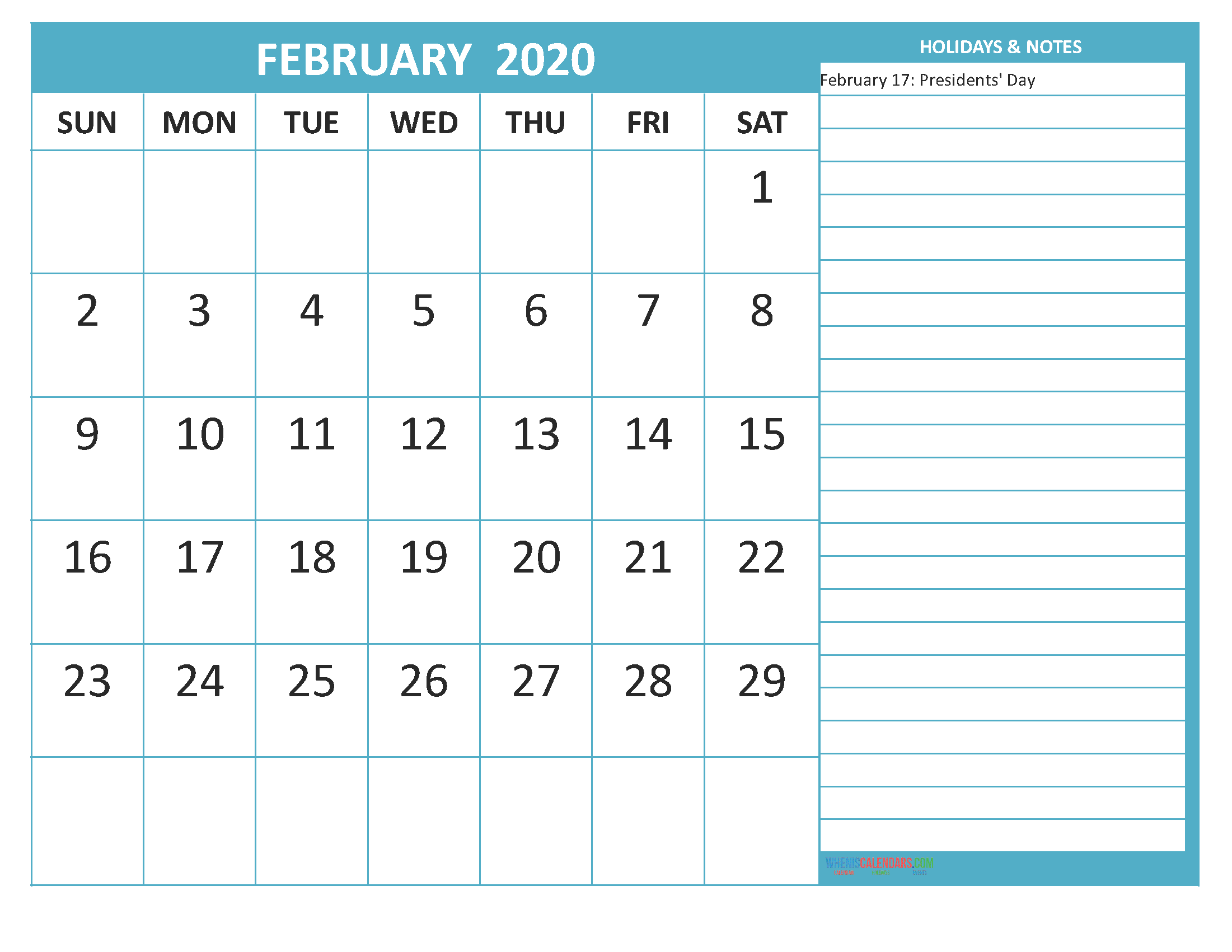 Free Printable February 2020 Calendar with Holidays