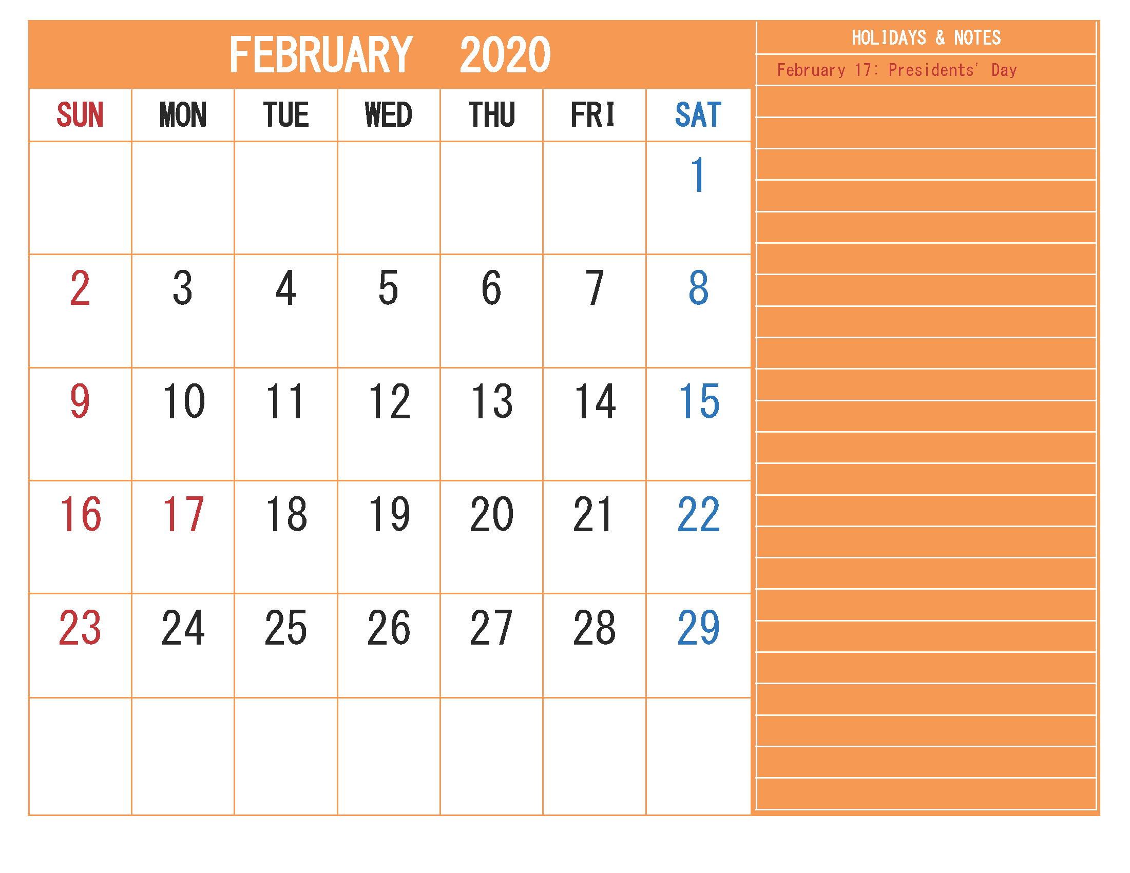 Free Monthly Printable Calendar 2020 February with Holidays