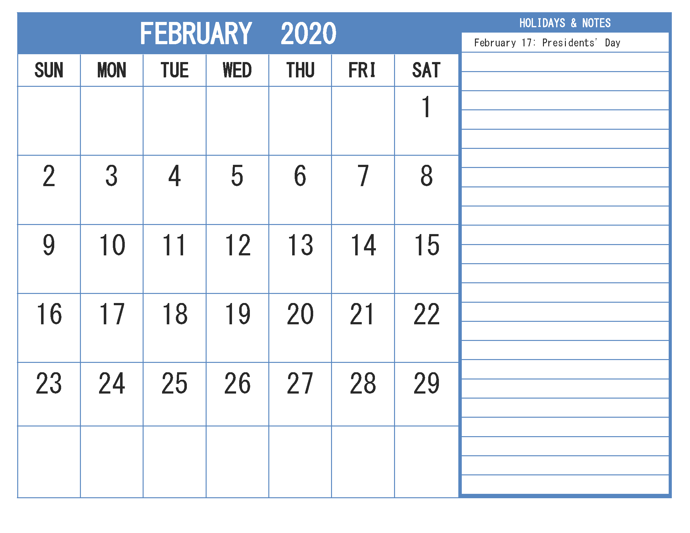Free Printable Monthly 2020 Calendar with Holidays February