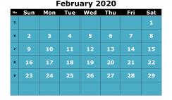Printable February 2020 Calendar with Week Numbers
