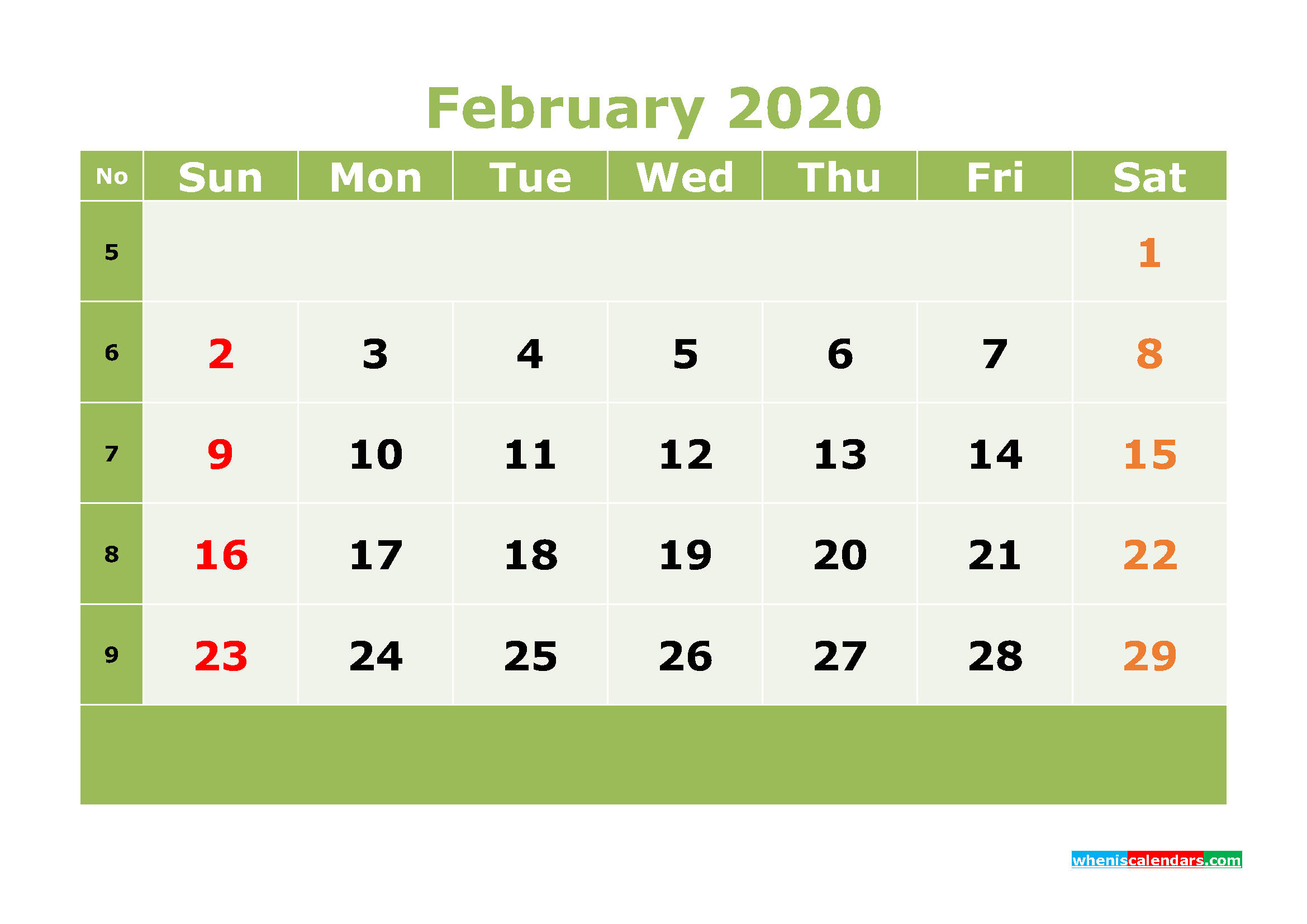 Printable February 2020 Calendar with Week Numbers
