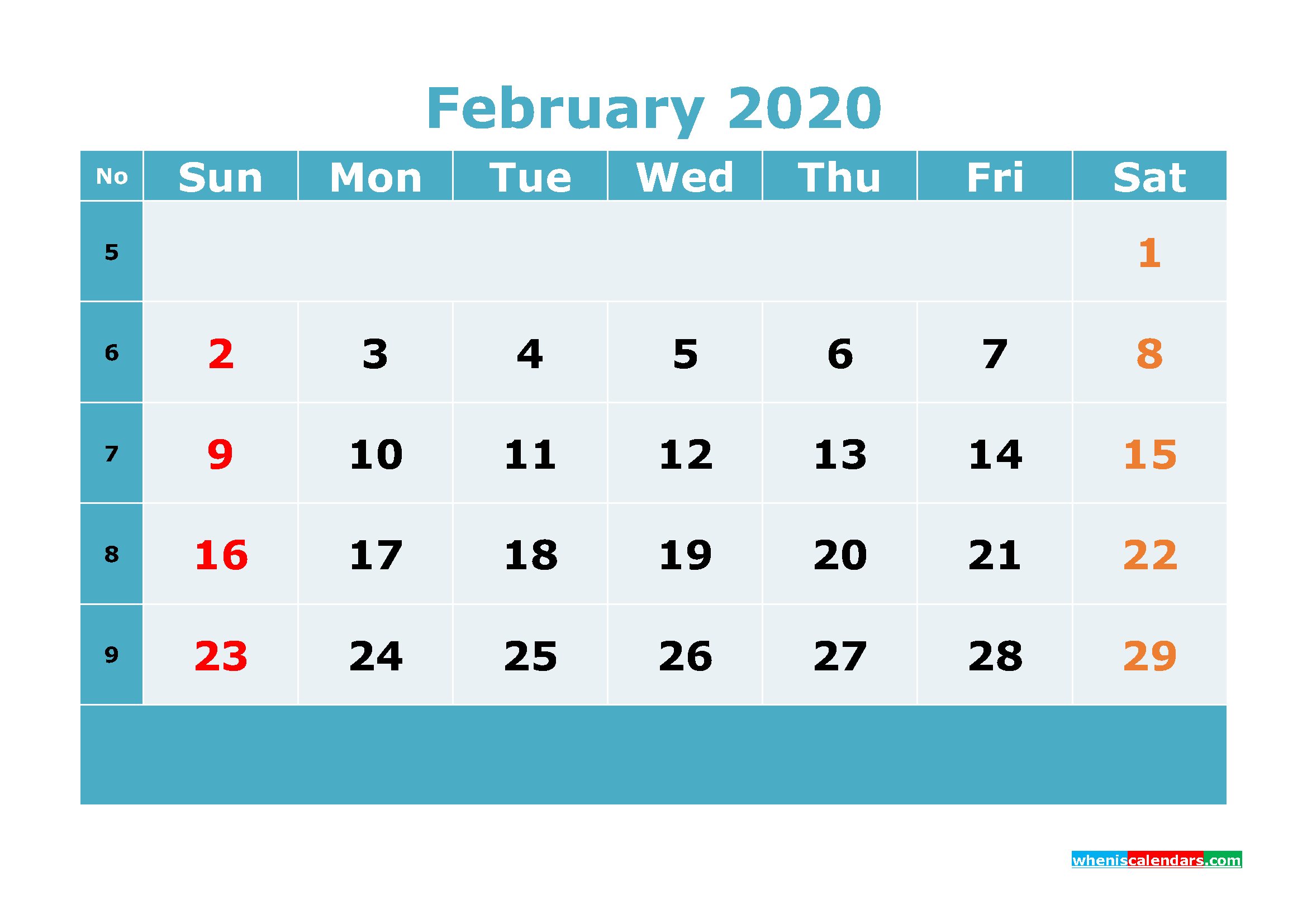 Free Printable February 2020 Calendar Template Word