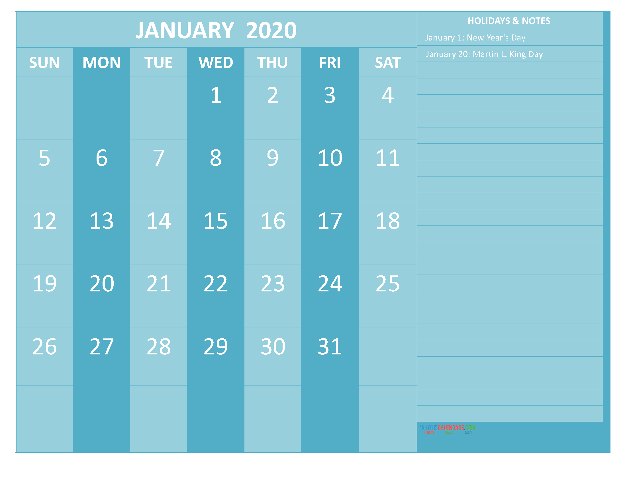 Free Printable Monthly 2020 Calendar with Holidays January