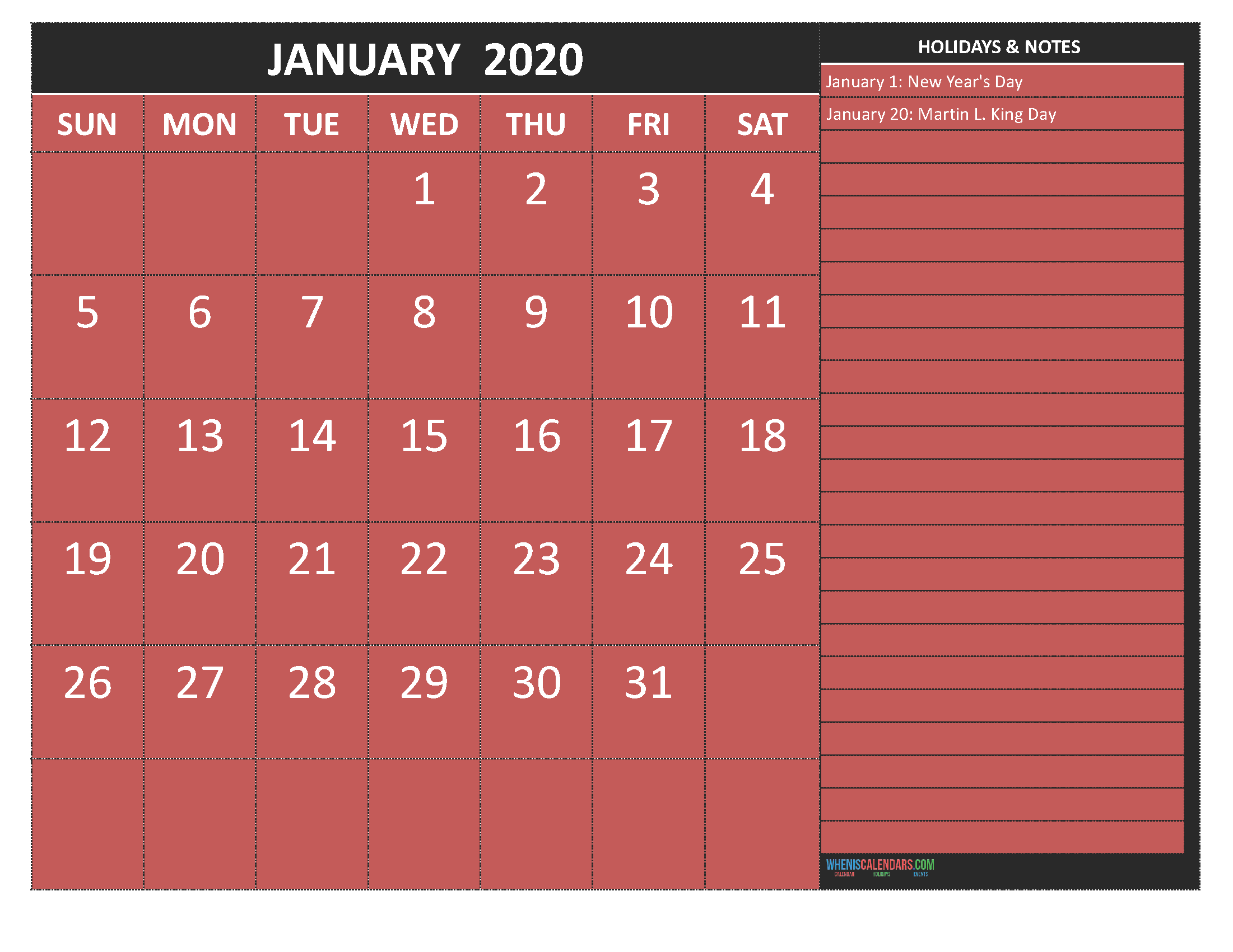 Free January 2020 Monthly Calendar Template Word