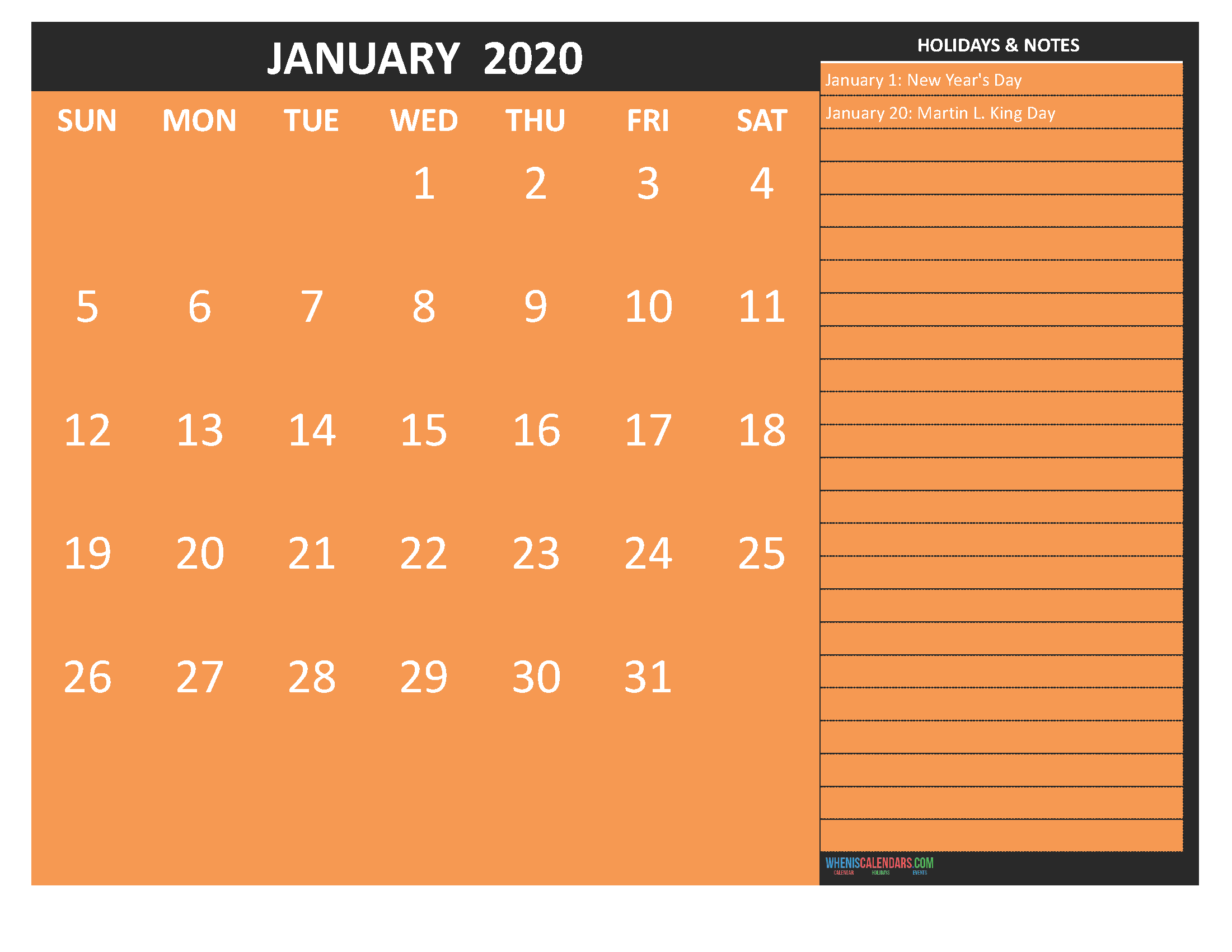 Printable January 2020 Calendar with Holidays Word