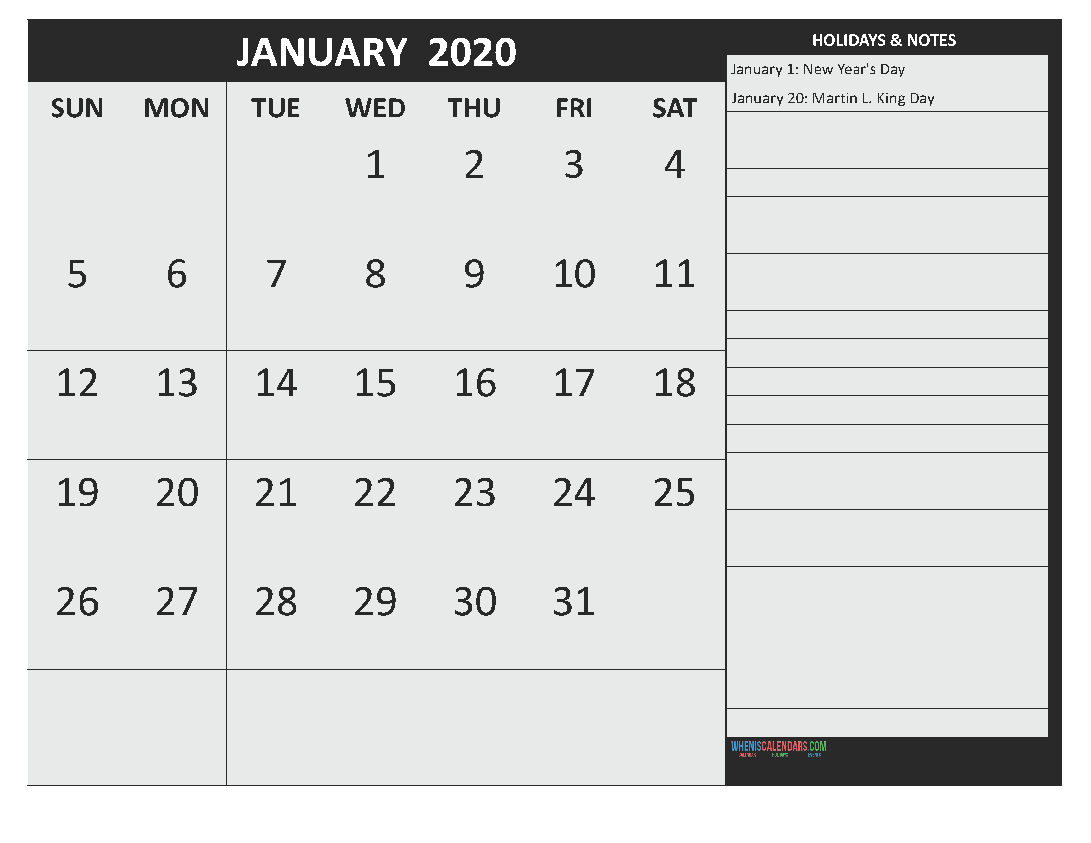 January 2020 Calendar with Holidays Free Printable by Word