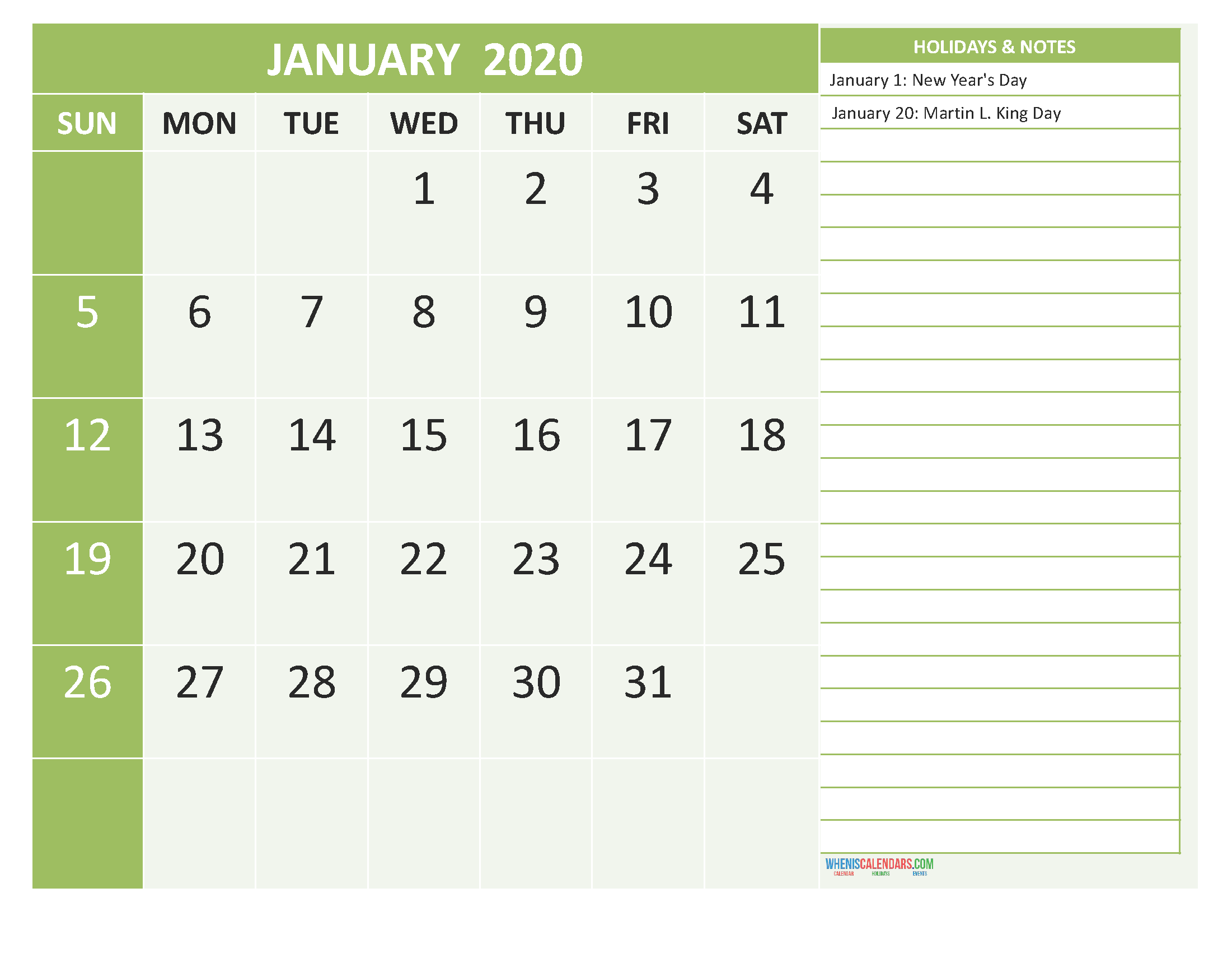 January 2020 Calendar with Holidays Free Printable