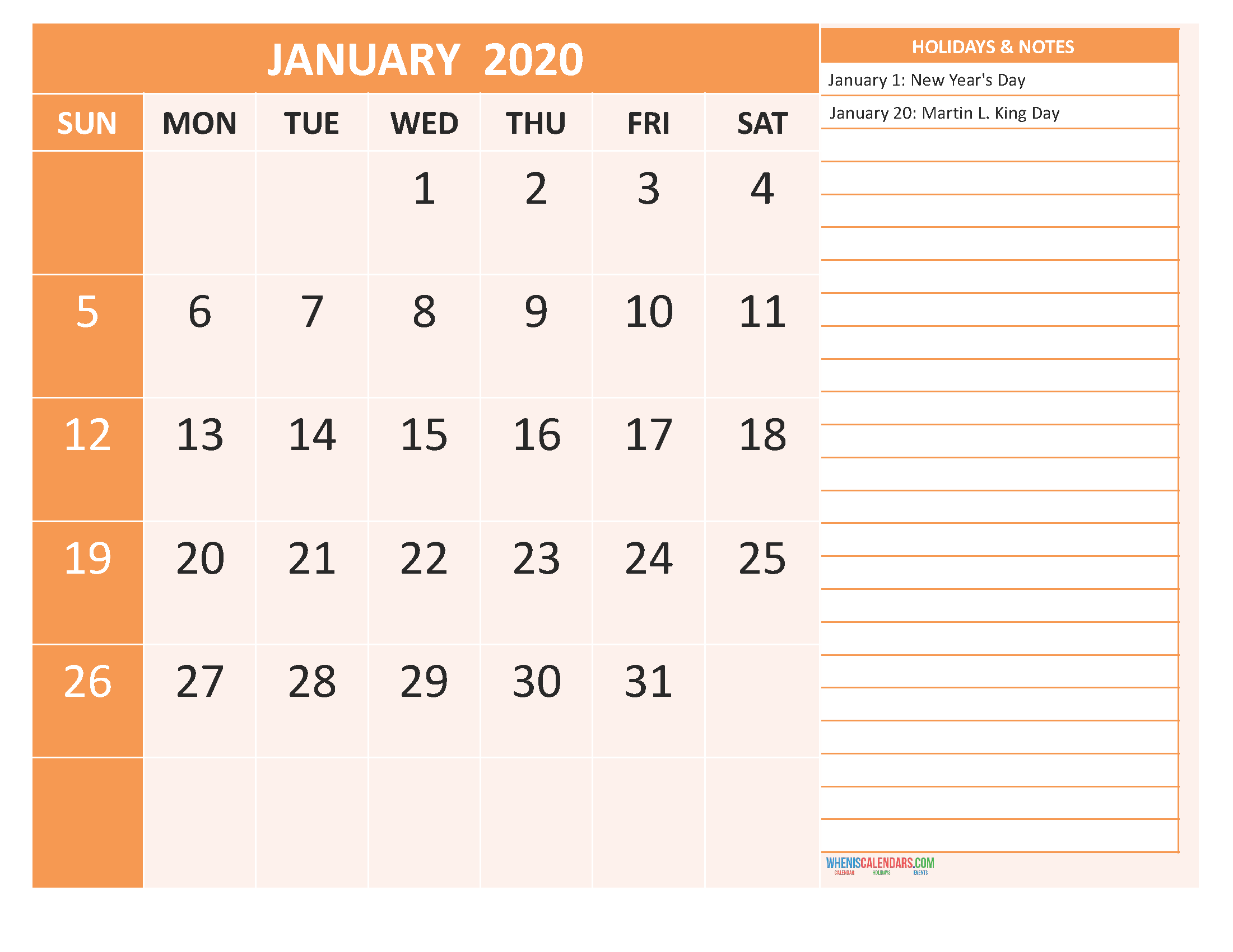 Free Monthly Printable Calendar 2020 January with Holidays