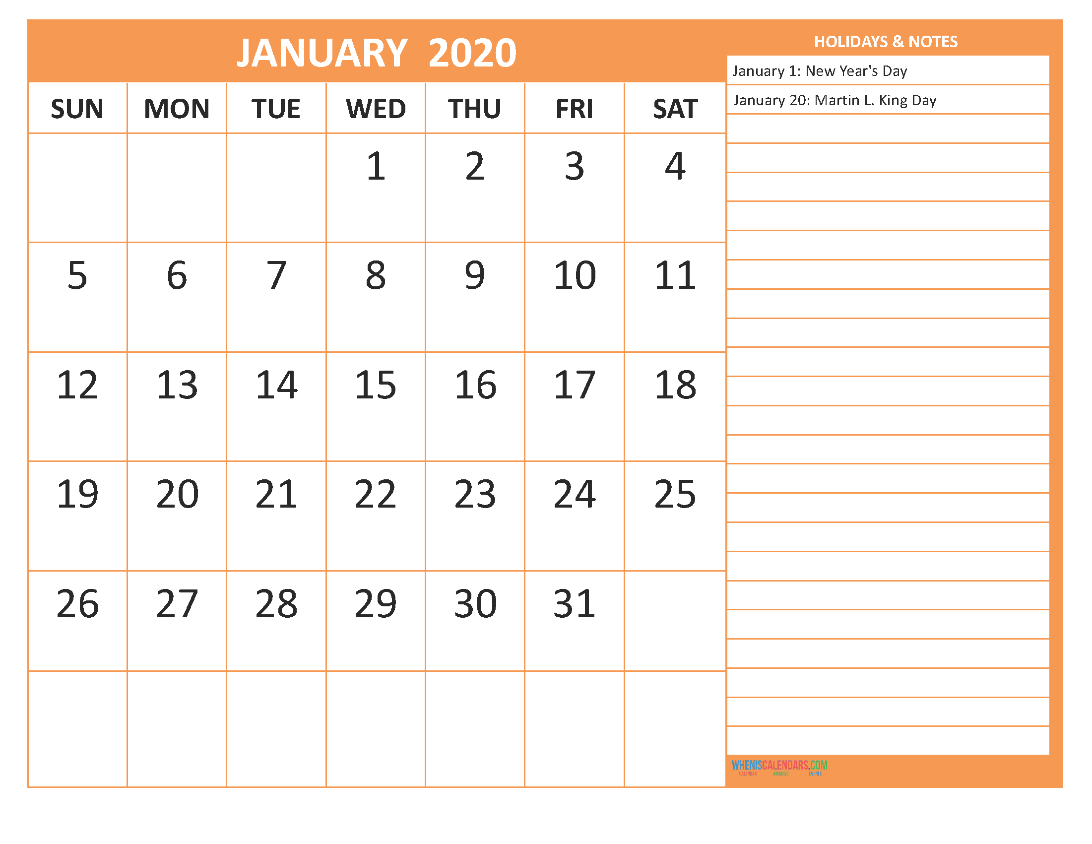 January 2020 Calendar with Holidays Word, PDF
